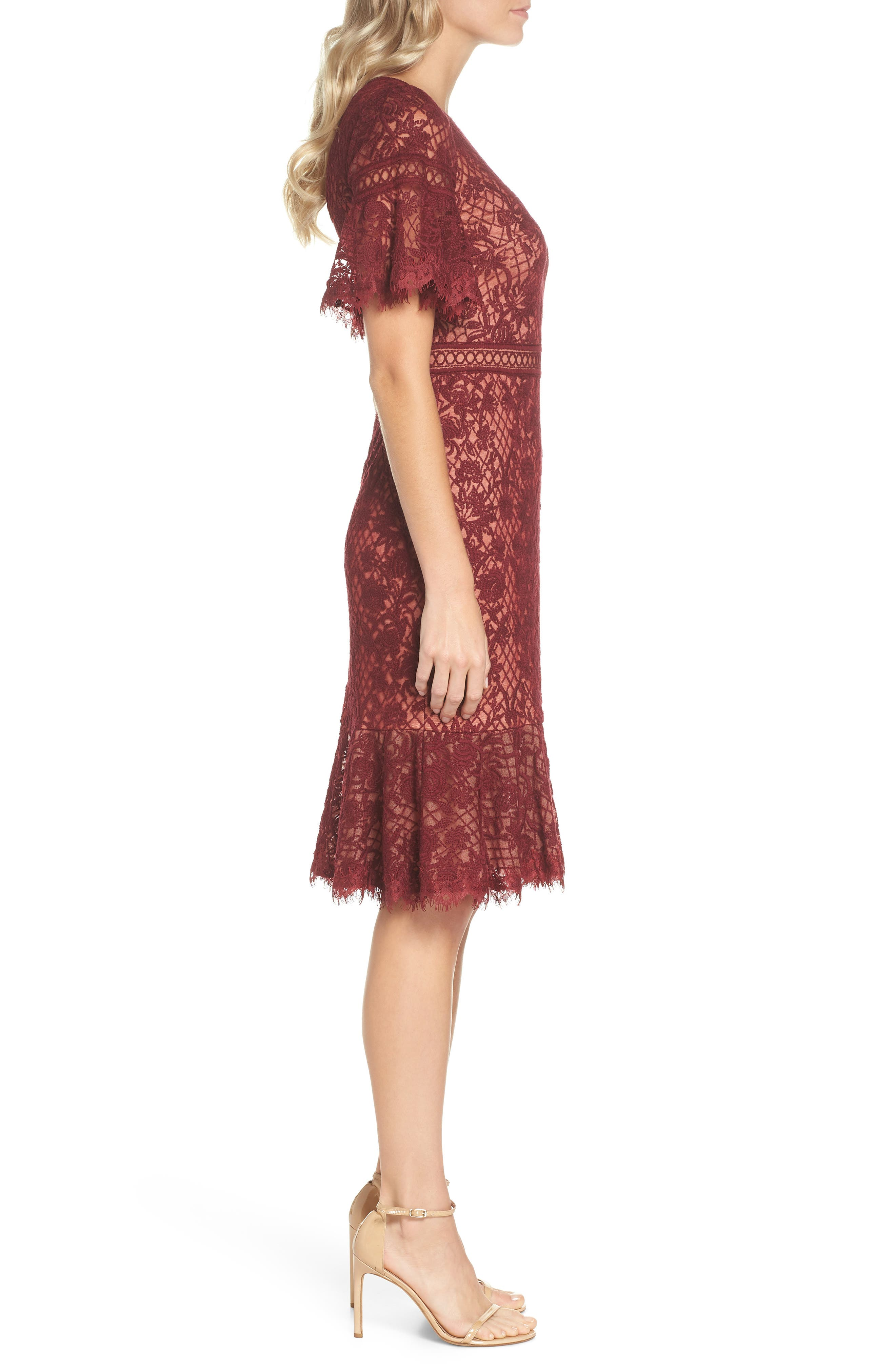Embroidered Mesh Dress,                             Alternate thumbnail 3, color,                             Autumn/ Nude