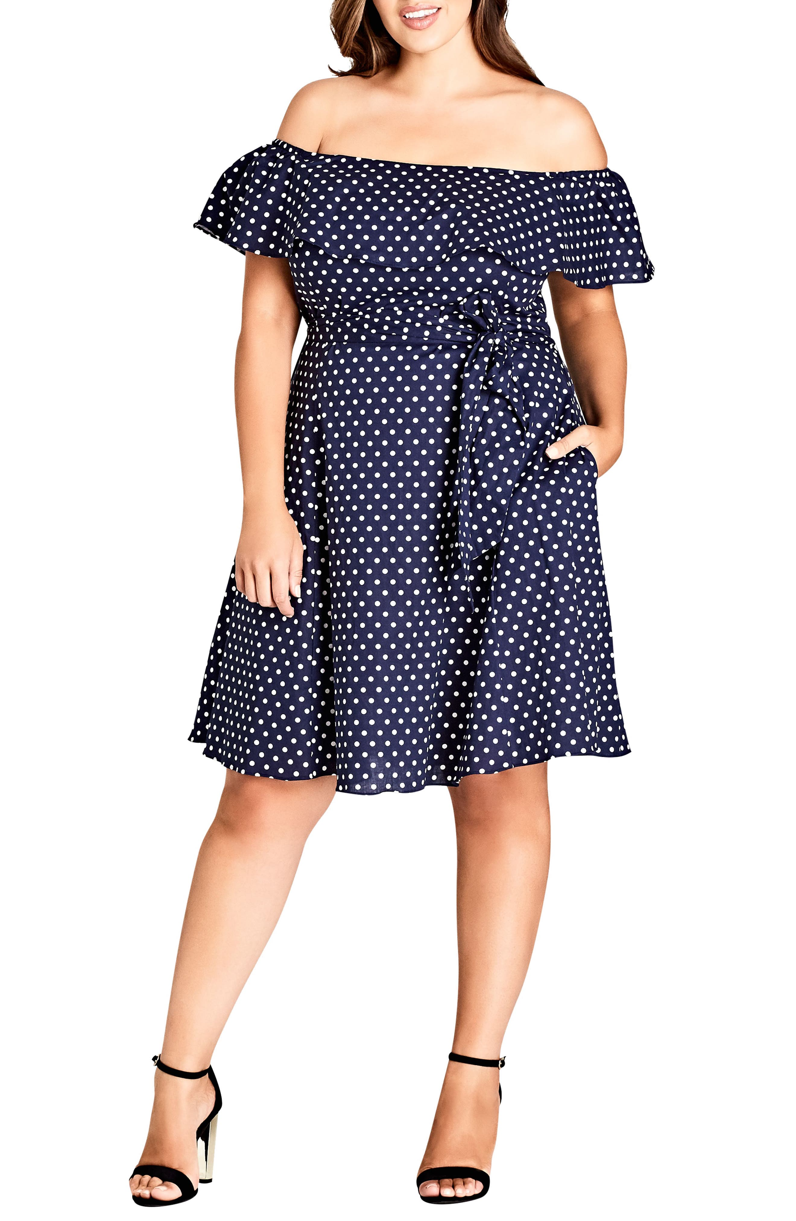 Sweet Off the Shoulder Fit & Flare Dress,                             Main thumbnail 1, color,                             Spot