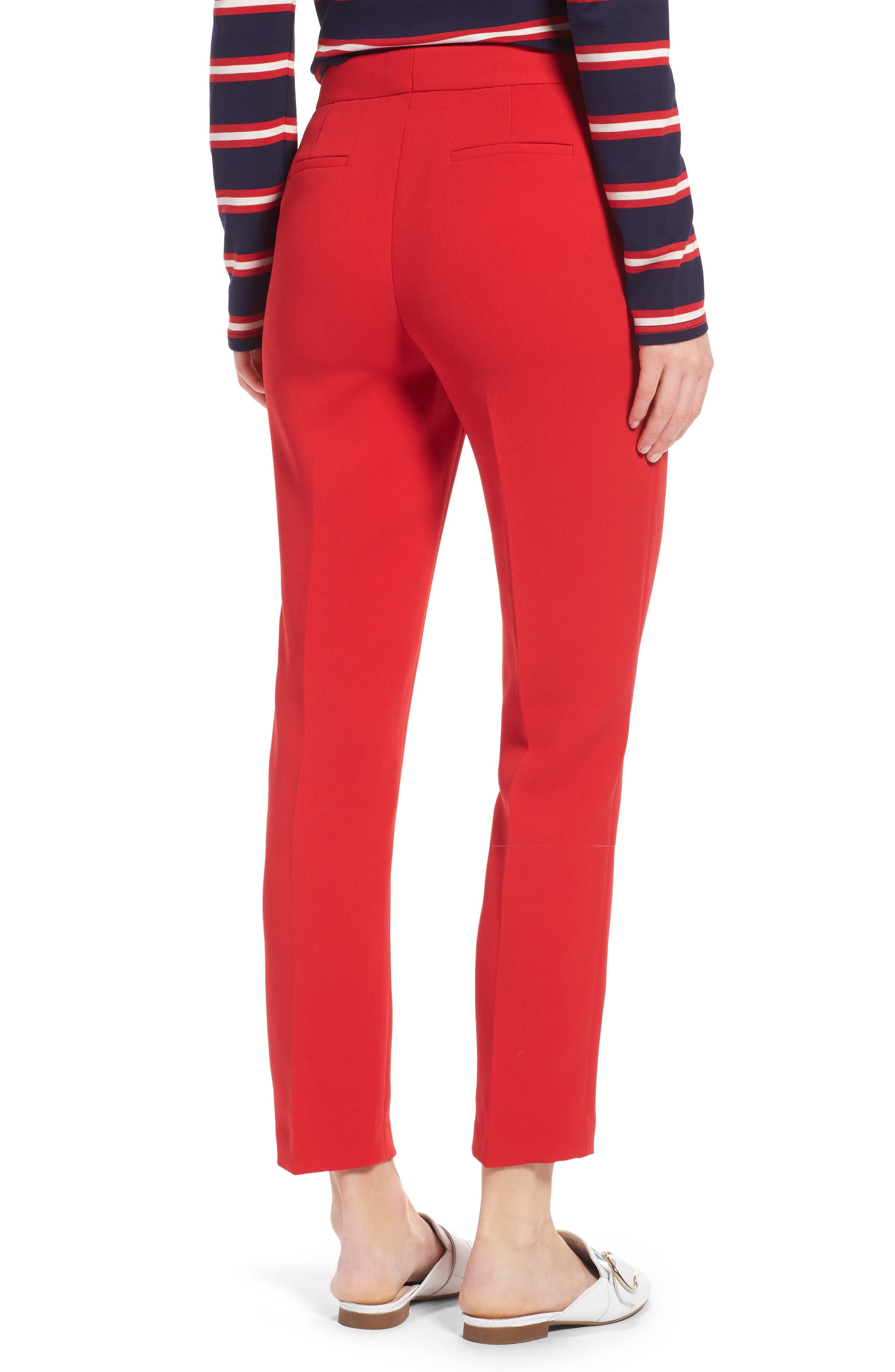 High Waist Straight Pants,                             Alternate thumbnail 2, color,                             Red Chinoise