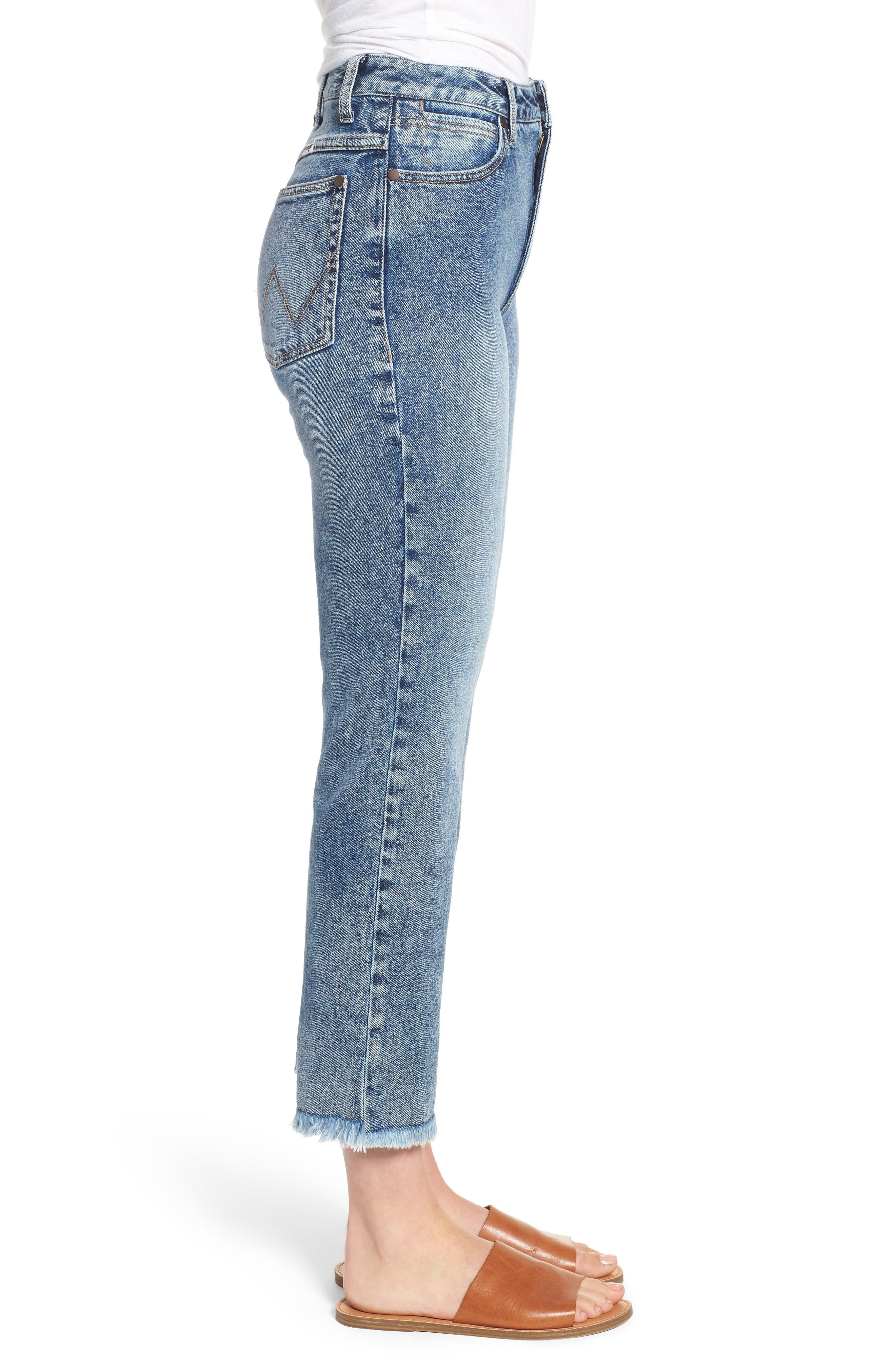 Acid Wash High Waist Crop Jeans,                             Alternate thumbnail 5, color,                             Dark Acid