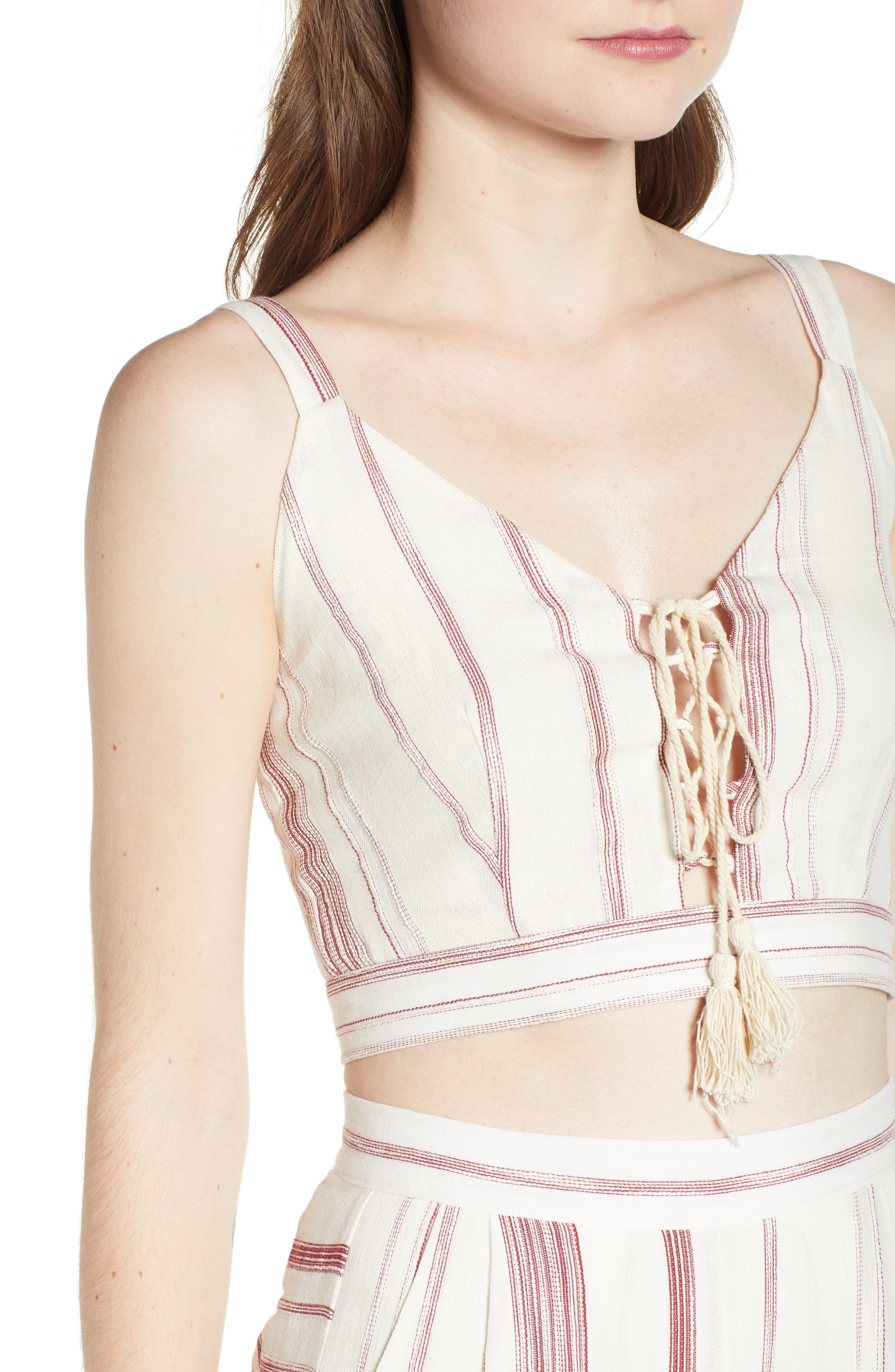 Mariana Stripe Lace-Up Crop Top,                             Alternate thumbnail 6, color,                             Red/ Natural