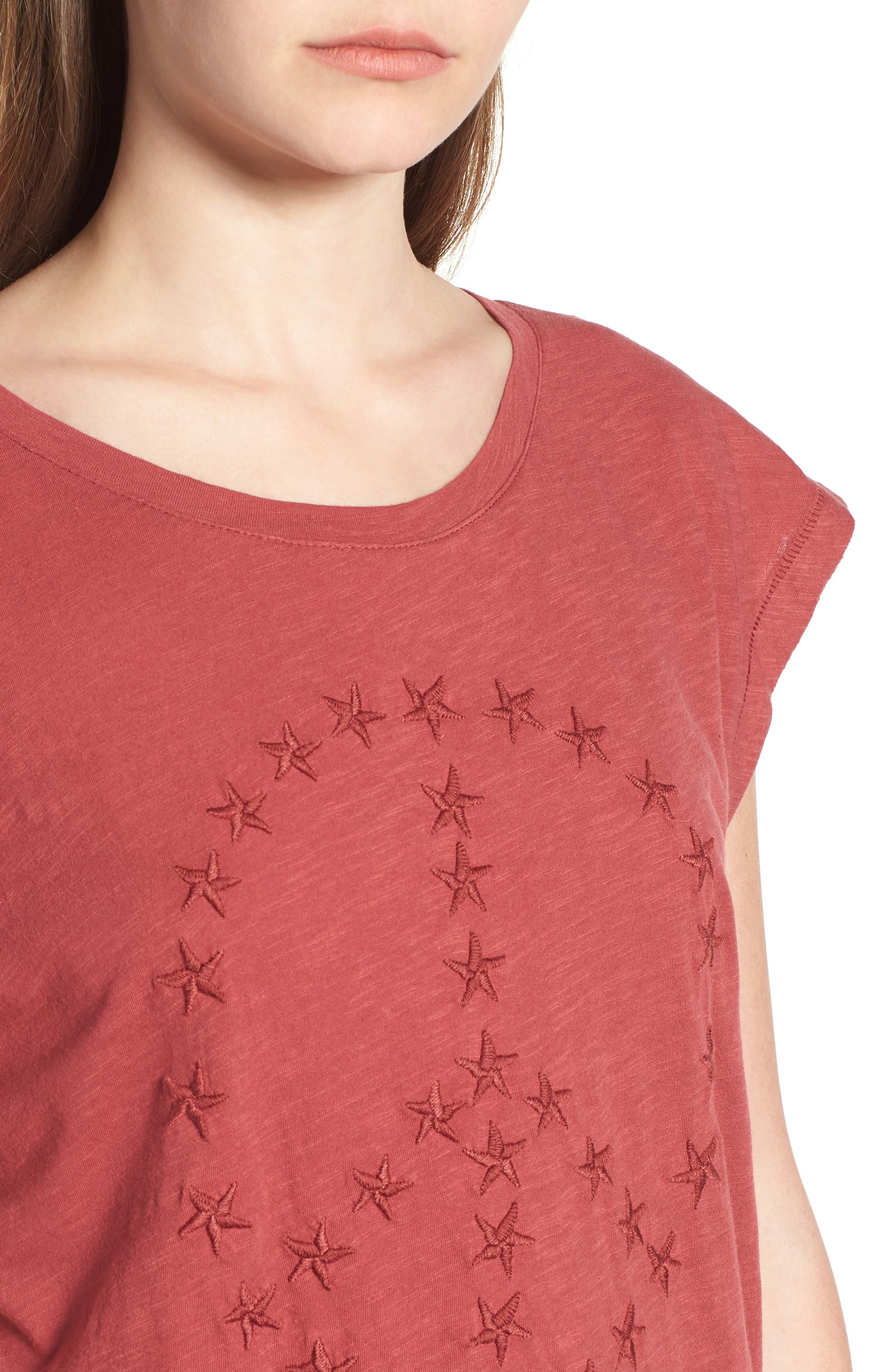 Embroidered Peace Sign Tee,                             Alternate thumbnail 4, color,                             Rosewood
