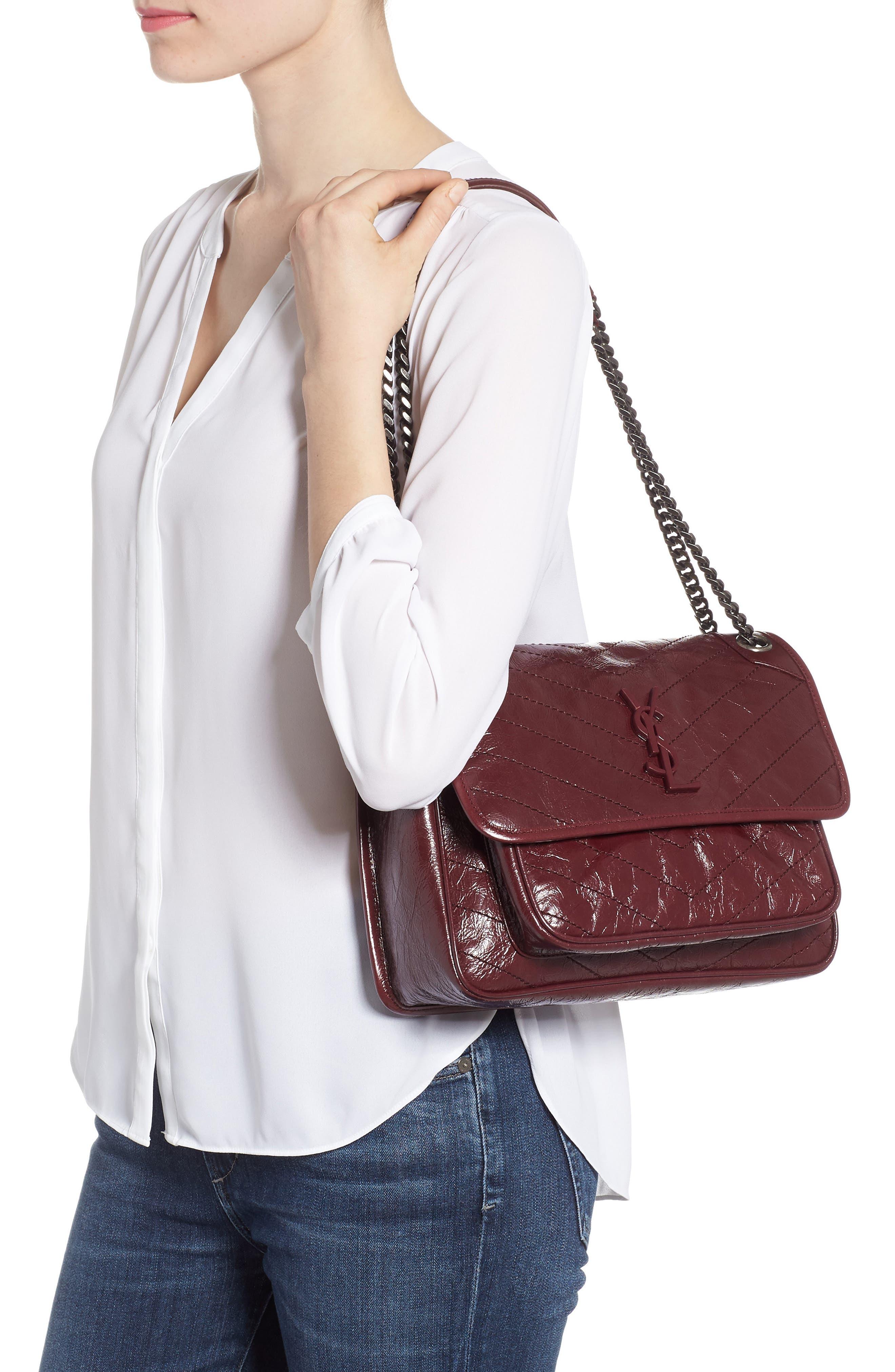 Medium Niki Leather Shoulder Bag,                             Alternate thumbnail 2, color,                             Rouge Legion