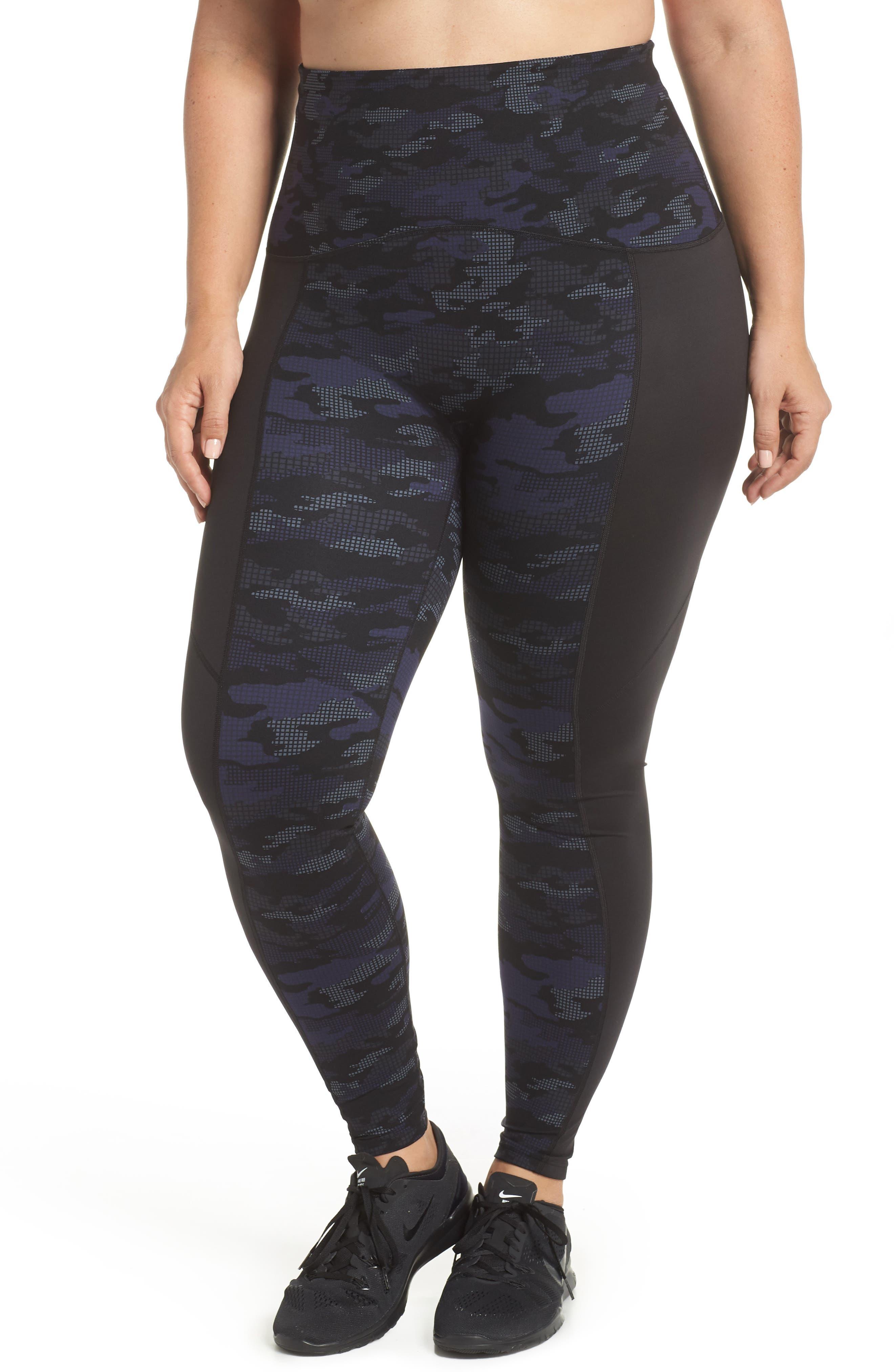 Print Active Leggings,                         Main,                         color, Geo Blue Camo