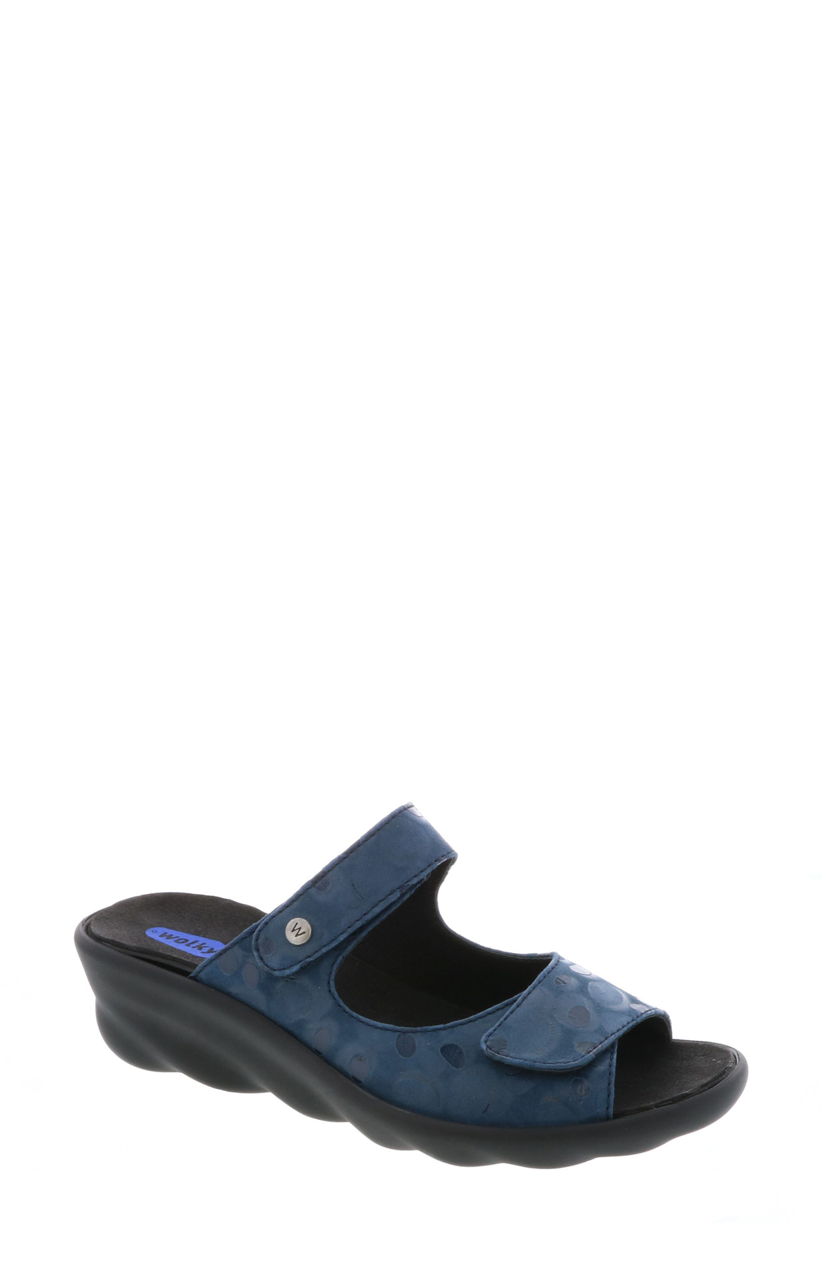 Bolena Slide Sandal,                         Main,                         color, Blue Circle Print