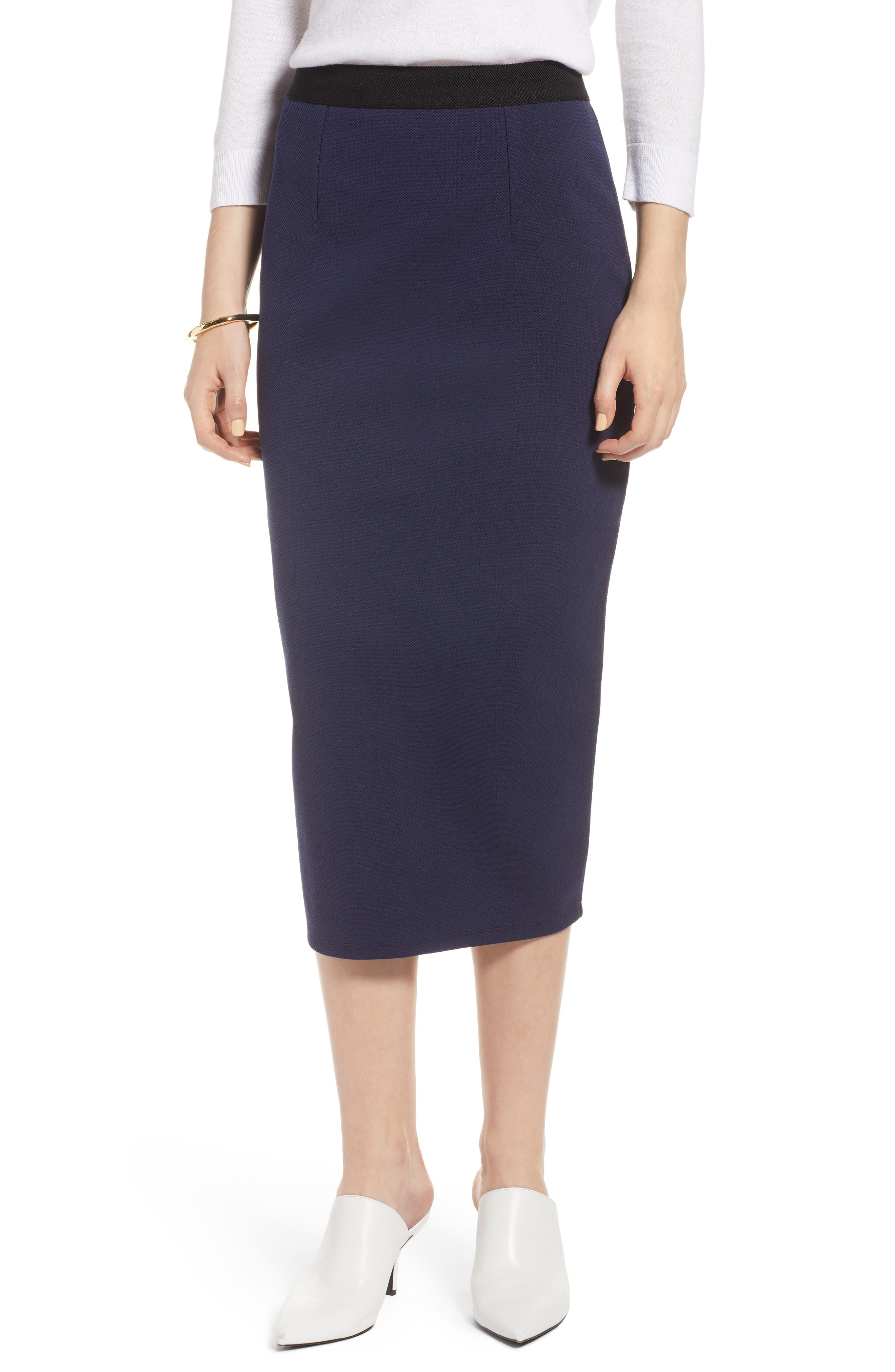Pique Ponte Skirt,                         Main,                         color, Navy Peacoat