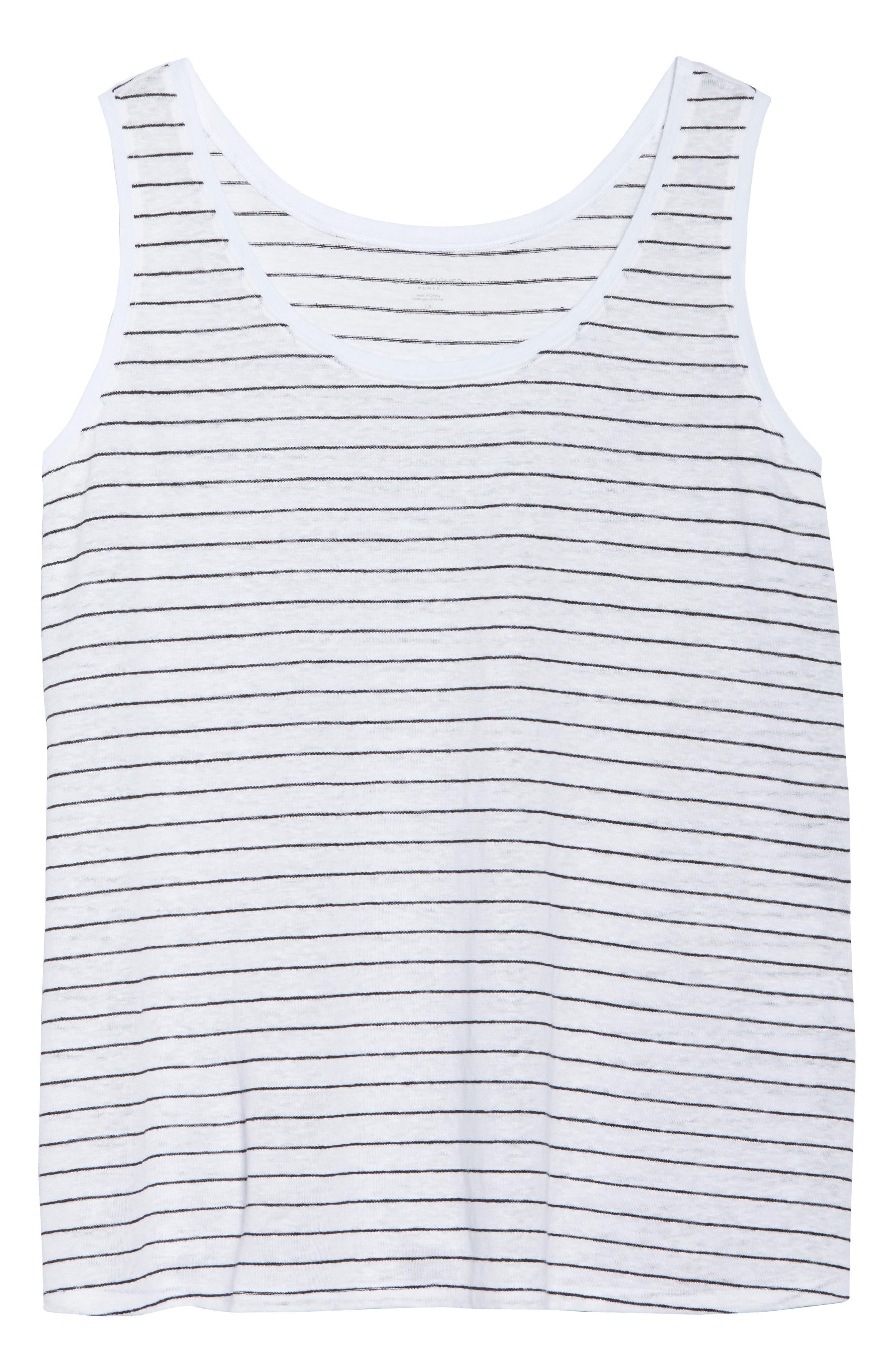 Stripe Linen Tank,                             Alternate thumbnail 7, color,                             White/ Black