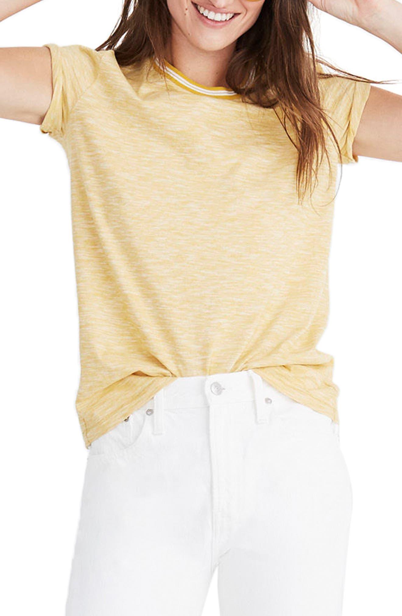 Whisper Cotton Stripe Ringer Tee,                             Main thumbnail 1, color,                             Golden Apple
