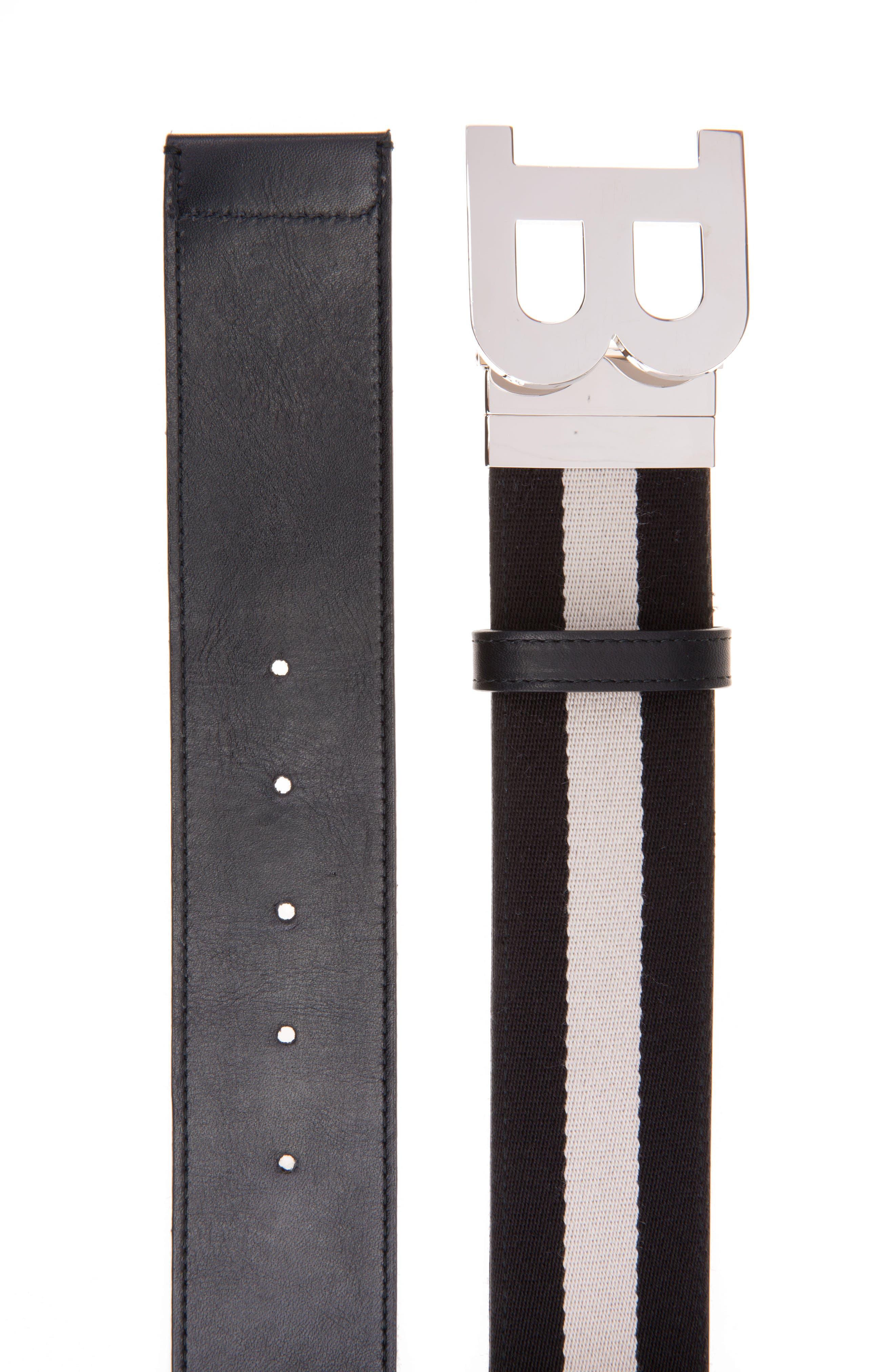 B-Buckle Reversible Webbed Belt,                             Alternate thumbnail 2, color,                             Black/ Bone
