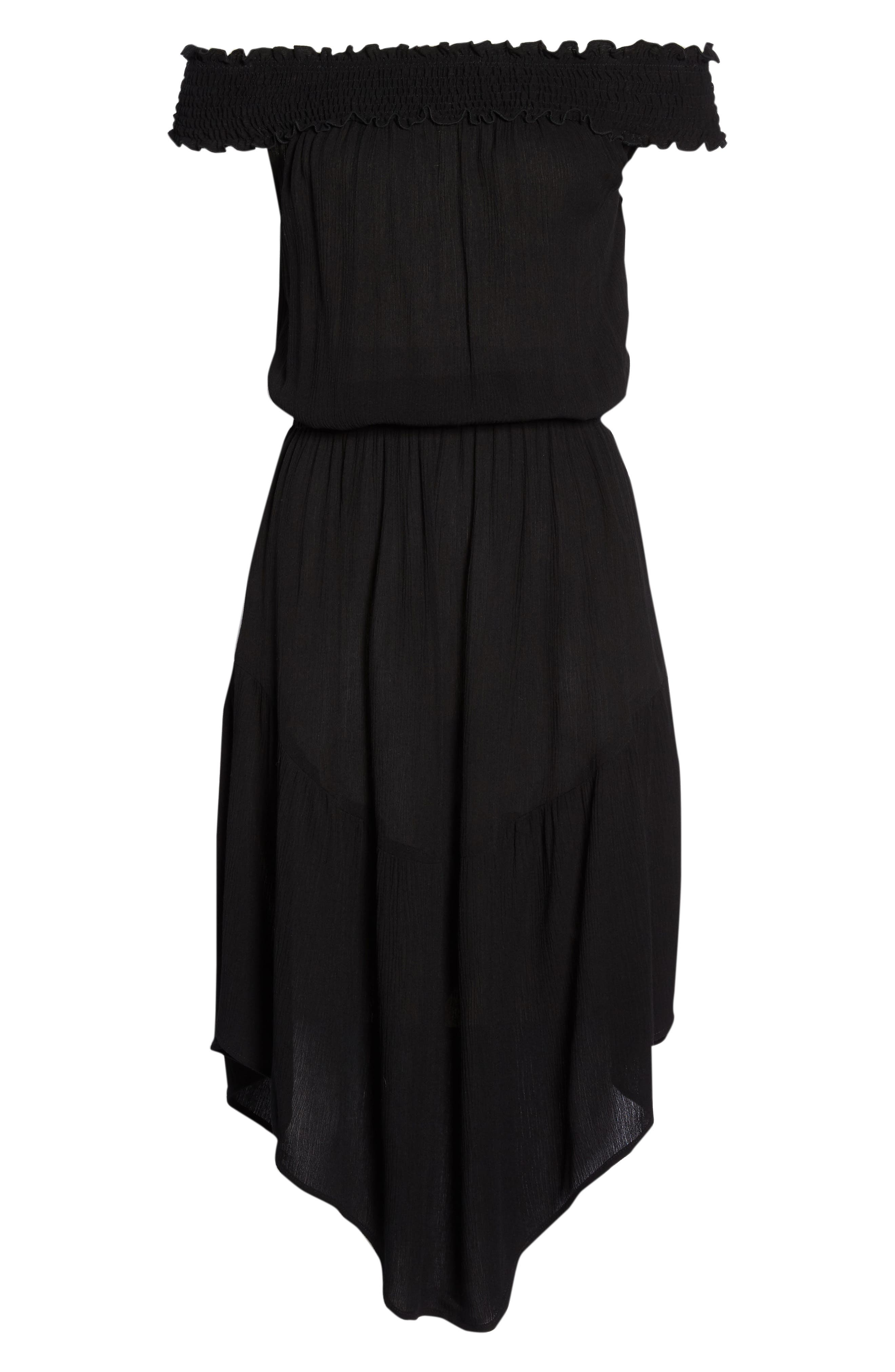 Summer Breeze Off the Shoulder Cover-Up Dress,                             Alternate thumbnail 6, color,                             Black