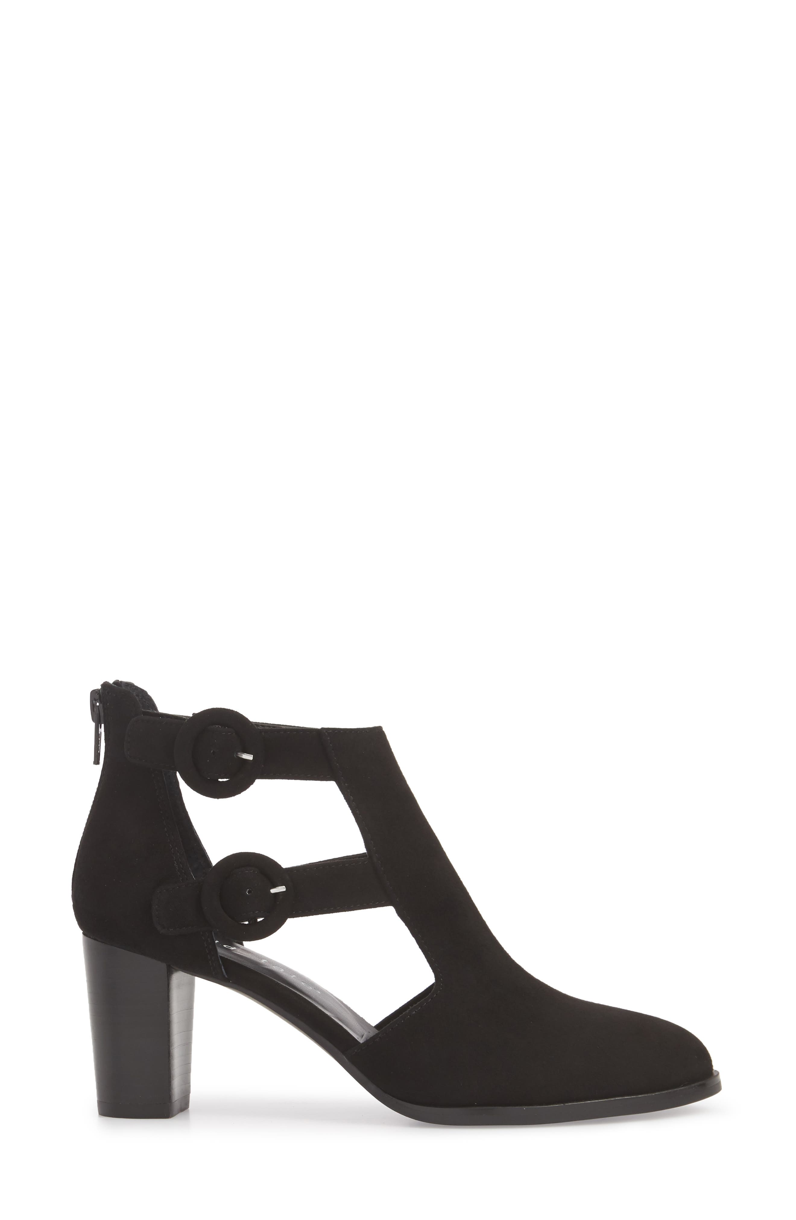 Exotic Caged Bootie,                             Alternate thumbnail 3, color,                             Black Suede