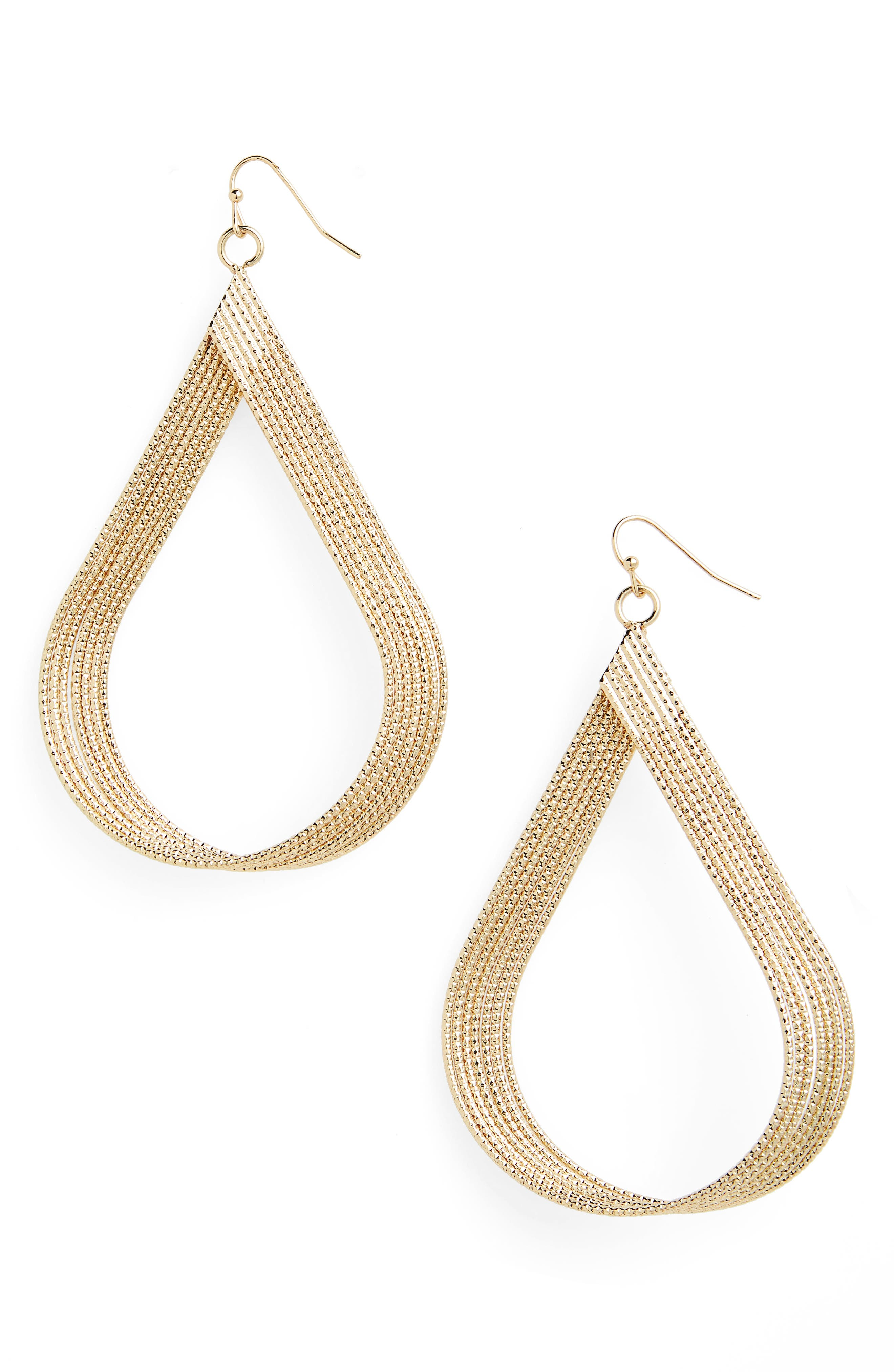 Large Textured Teardrop Earrings,                         Main,                         color, Gold