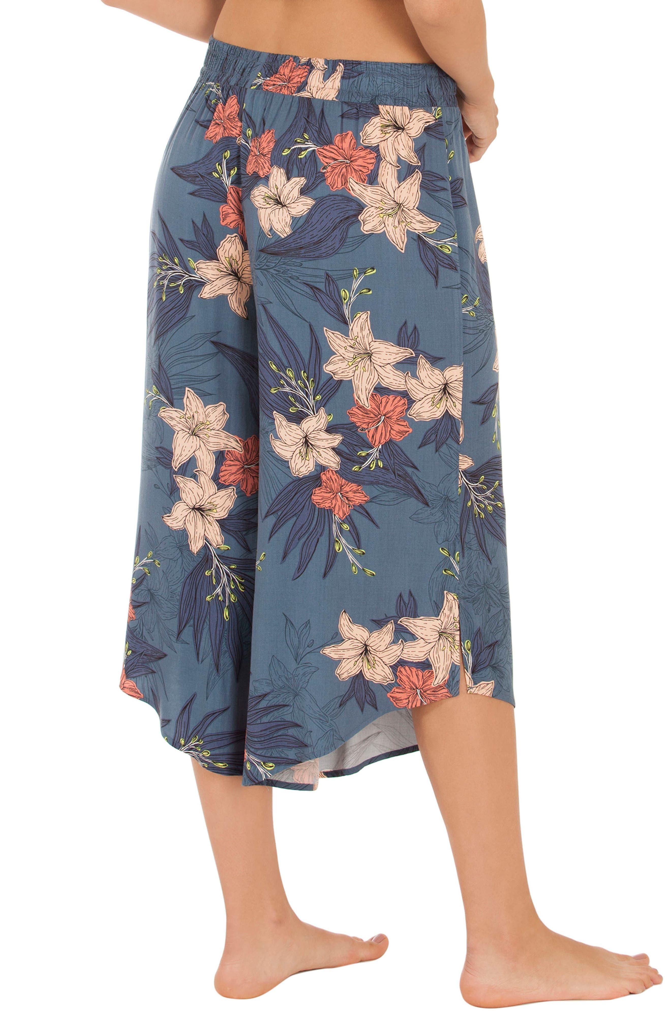 Floral Crop Pajama Pants,                             Alternate thumbnail 2, color,                             Blue Floral