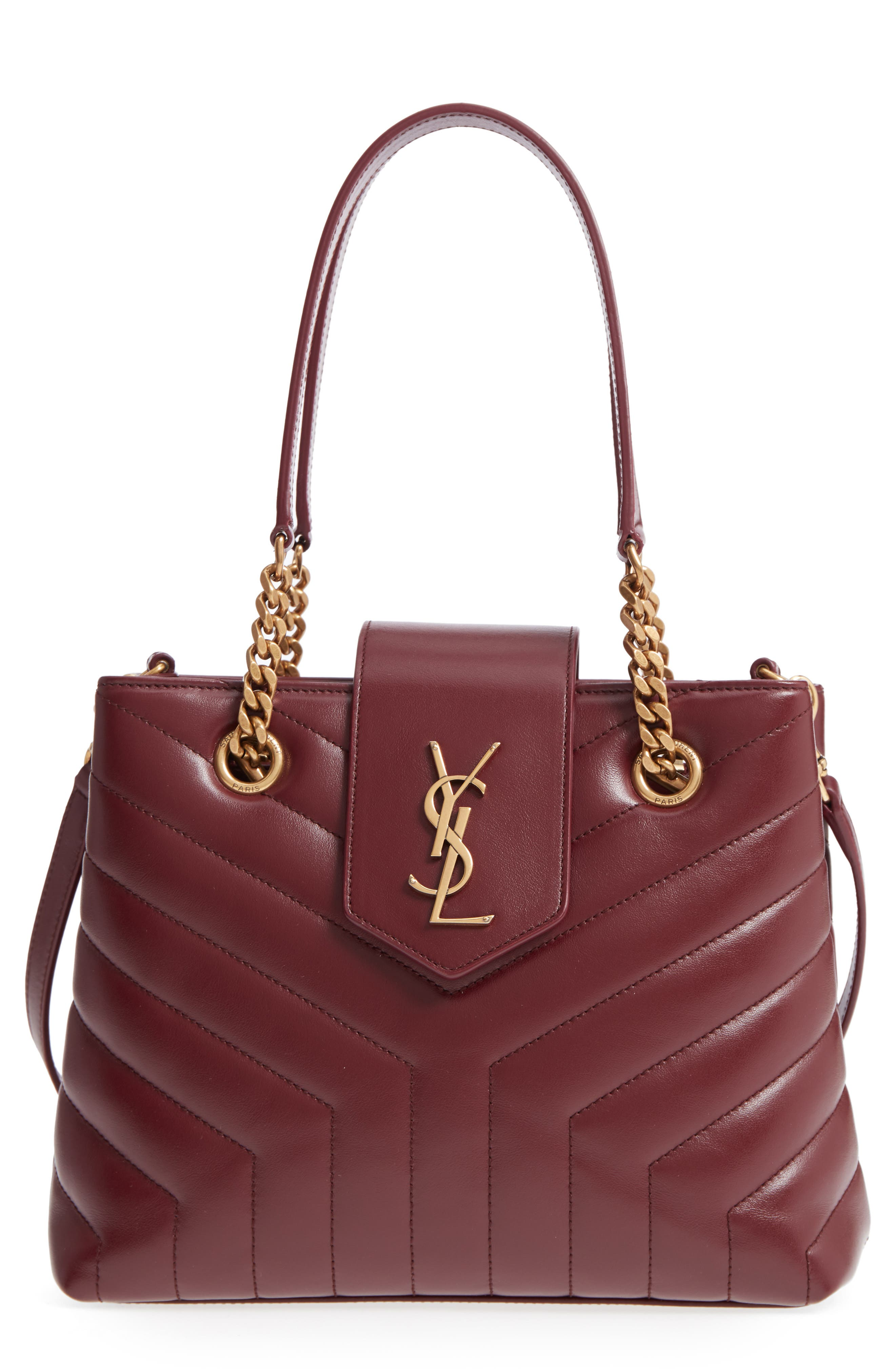 Saint Laurent Small Lou Lou Matelassé Calfskin Leather Shopping Tote