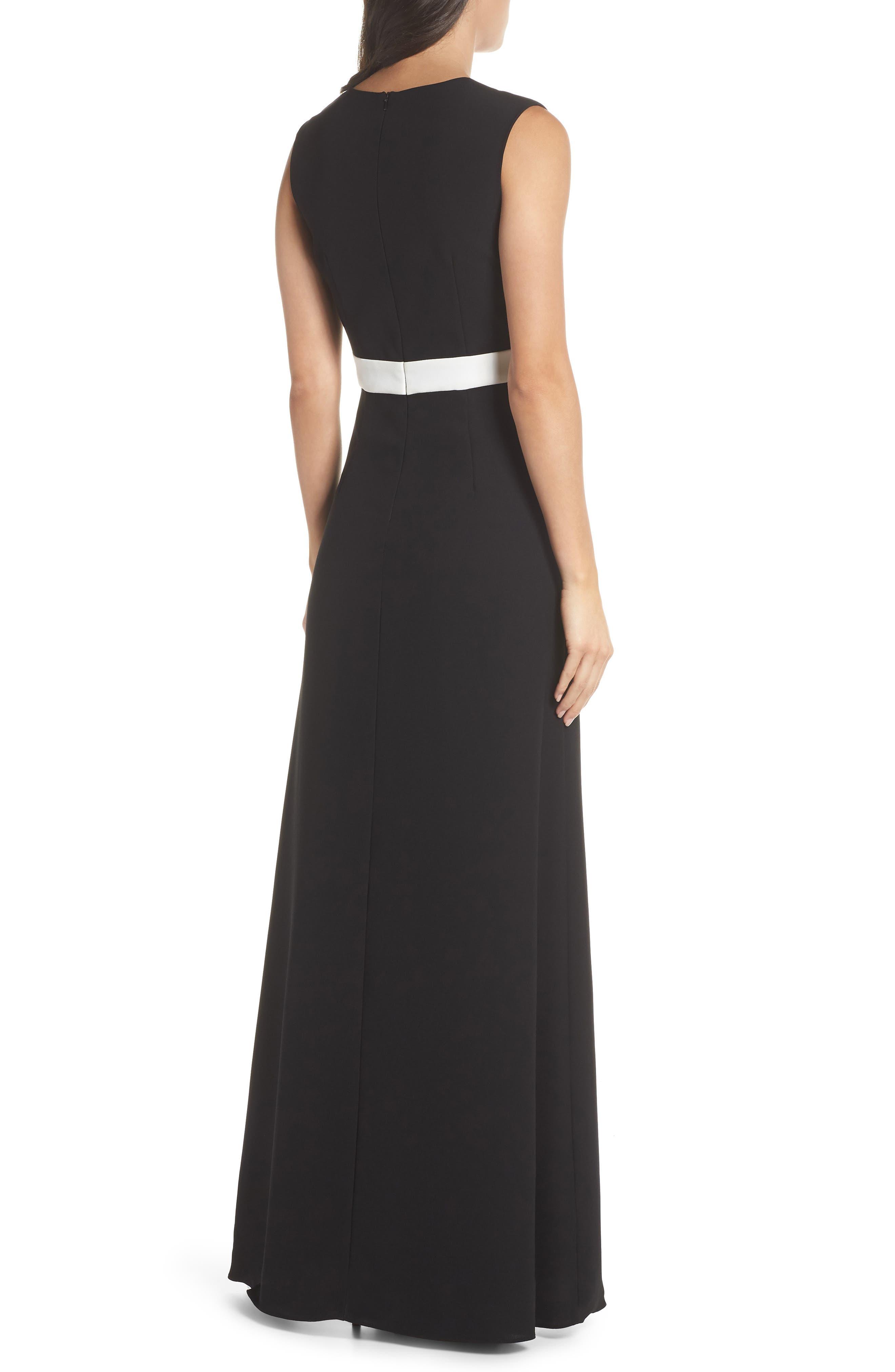 ML Monique Lhullier Sleeveless Crepe Gown,                             Alternate thumbnail 2, color,                             Black/ White