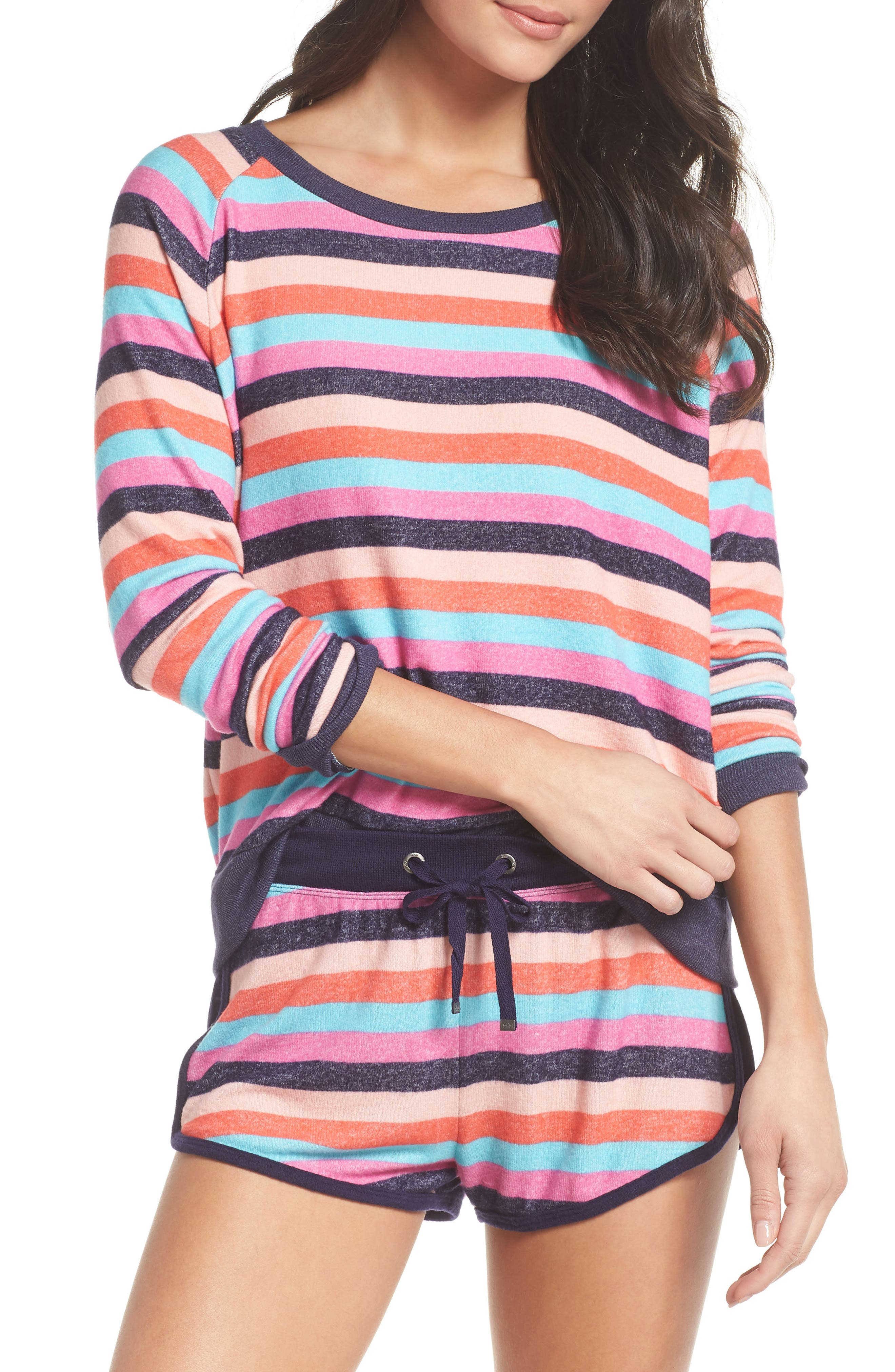 Cozy Crew Raglan Sweatshirt,                             Main thumbnail 1, color,                             Navy Dusk Milli Multi Stripe