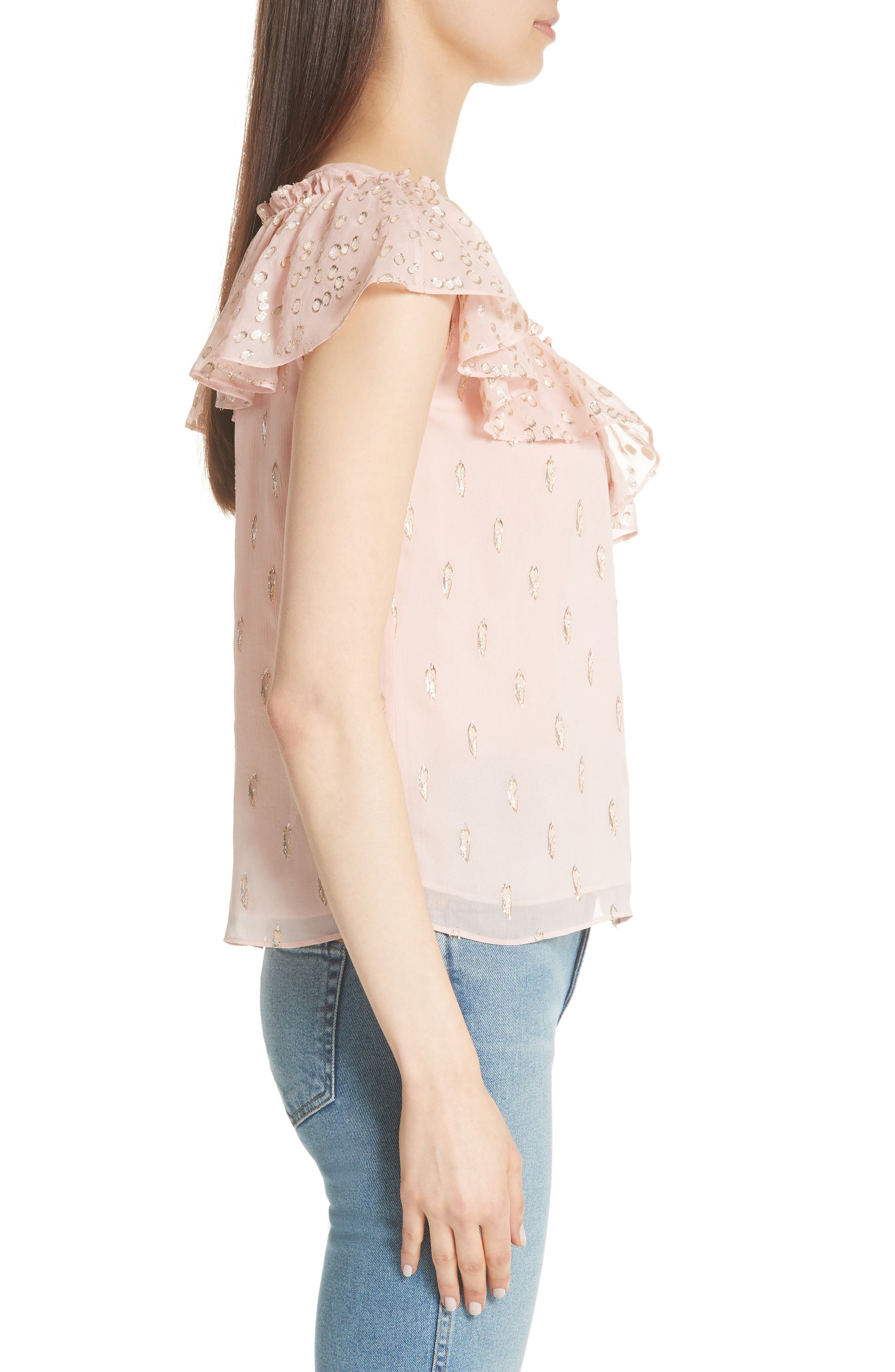 Metallic Fille Coupé Ruffle Silk Top,                             Alternate thumbnail 3, color,                             Powder Pink