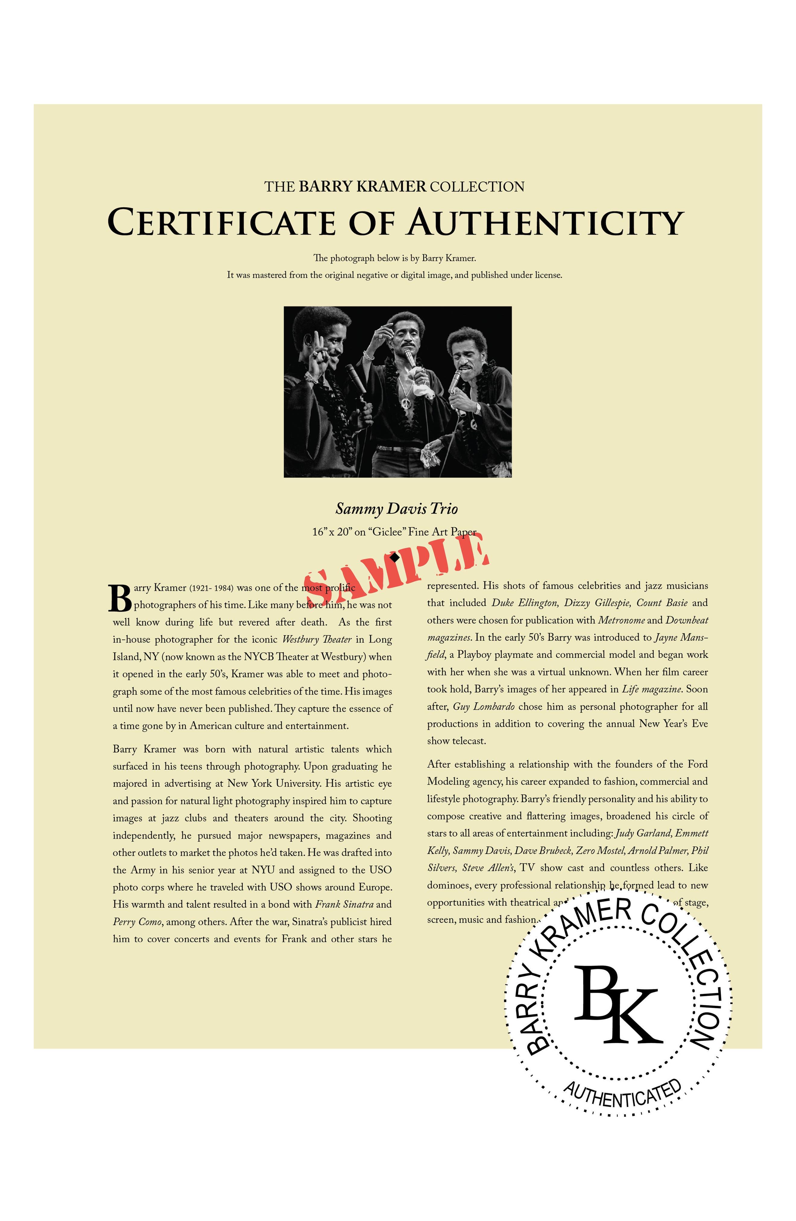 Sammy Davis Jr. Fine Art Print,                             Alternate thumbnail 4, color,                             Black