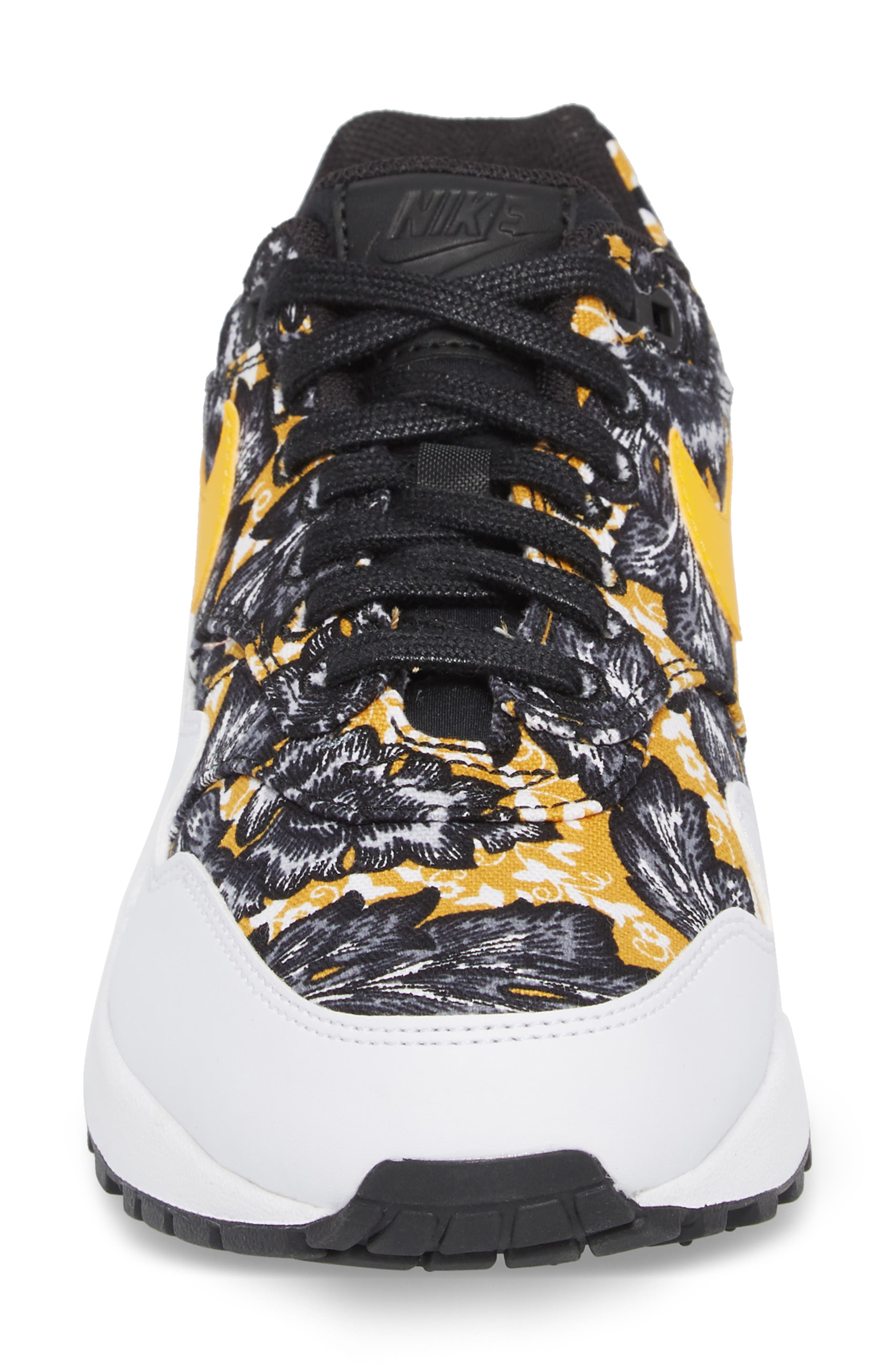 Air Max 1 QS Sneaker,                             Alternate thumbnail 5, color,                             White/ University Gold/ Black
