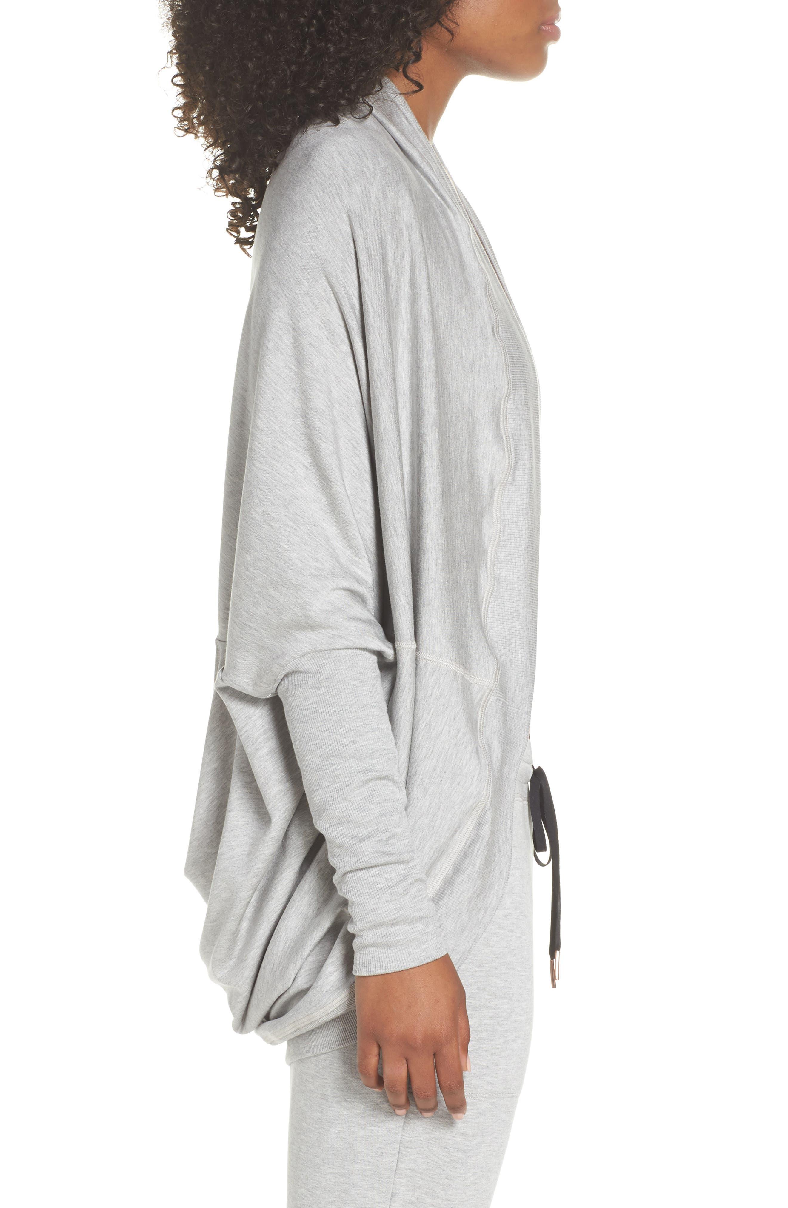 'Cozy' Convertible Fleece Pullover,                             Alternate thumbnail 4, color,                             Light Heather Gray