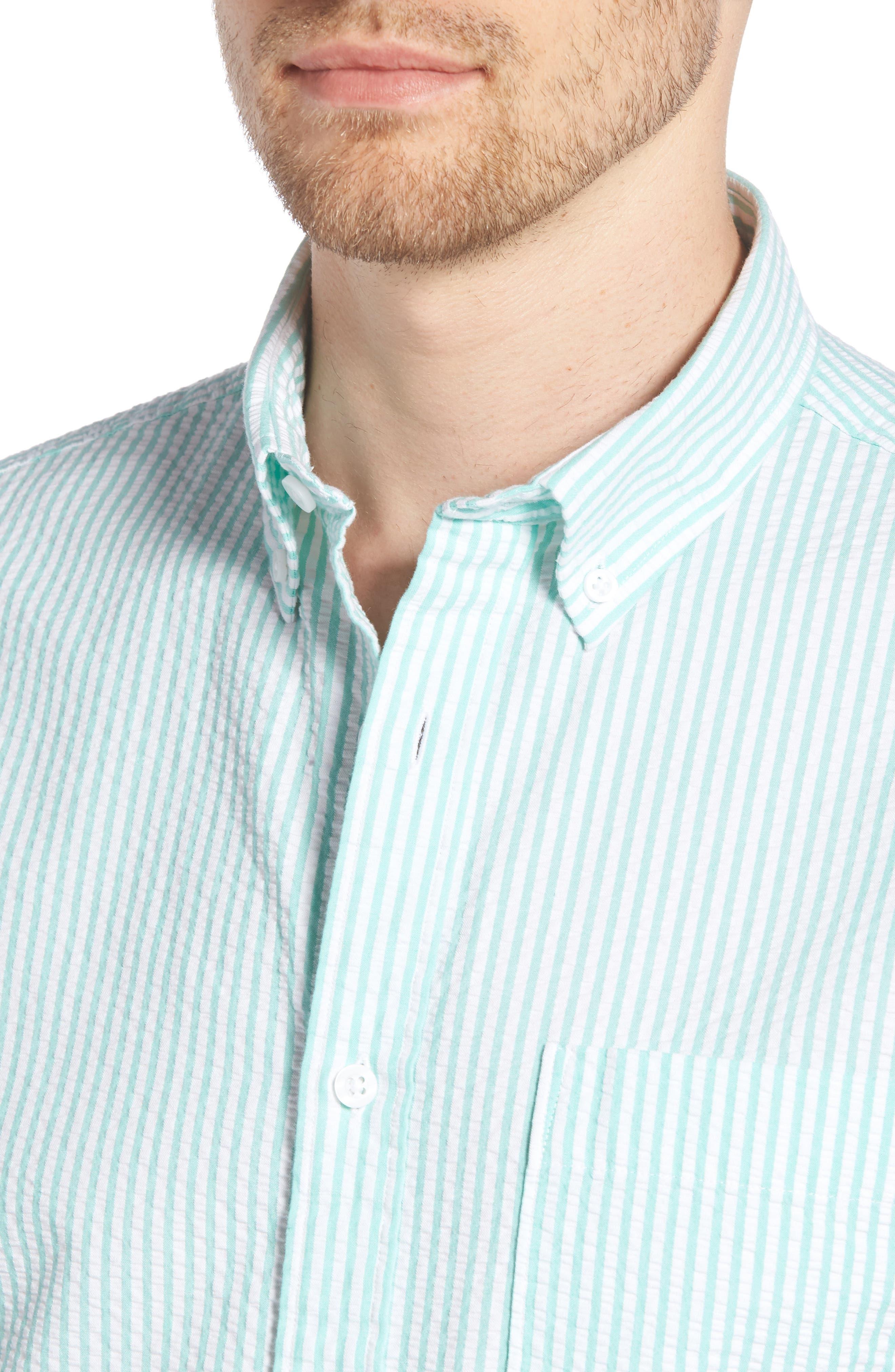 Trim Fit Seersucker Short Sleeve Sport Shirt,                             Alternate thumbnail 2, color,                             White Green Seersucker Stripe
