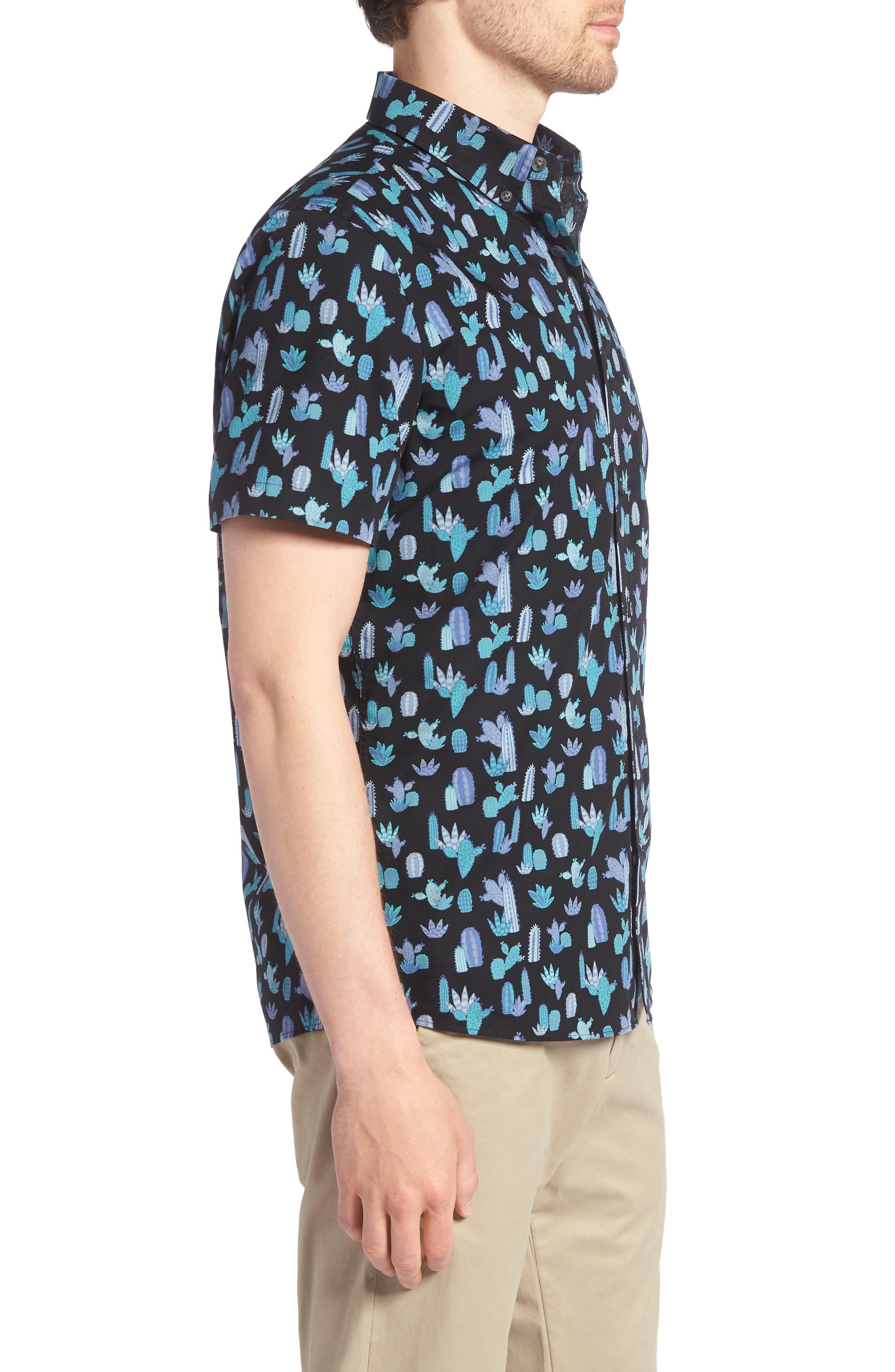 Trim Fit Cactus Print Sport Shirt,                             Alternate thumbnail 4, color,                             Grey Onyx Short Cacti