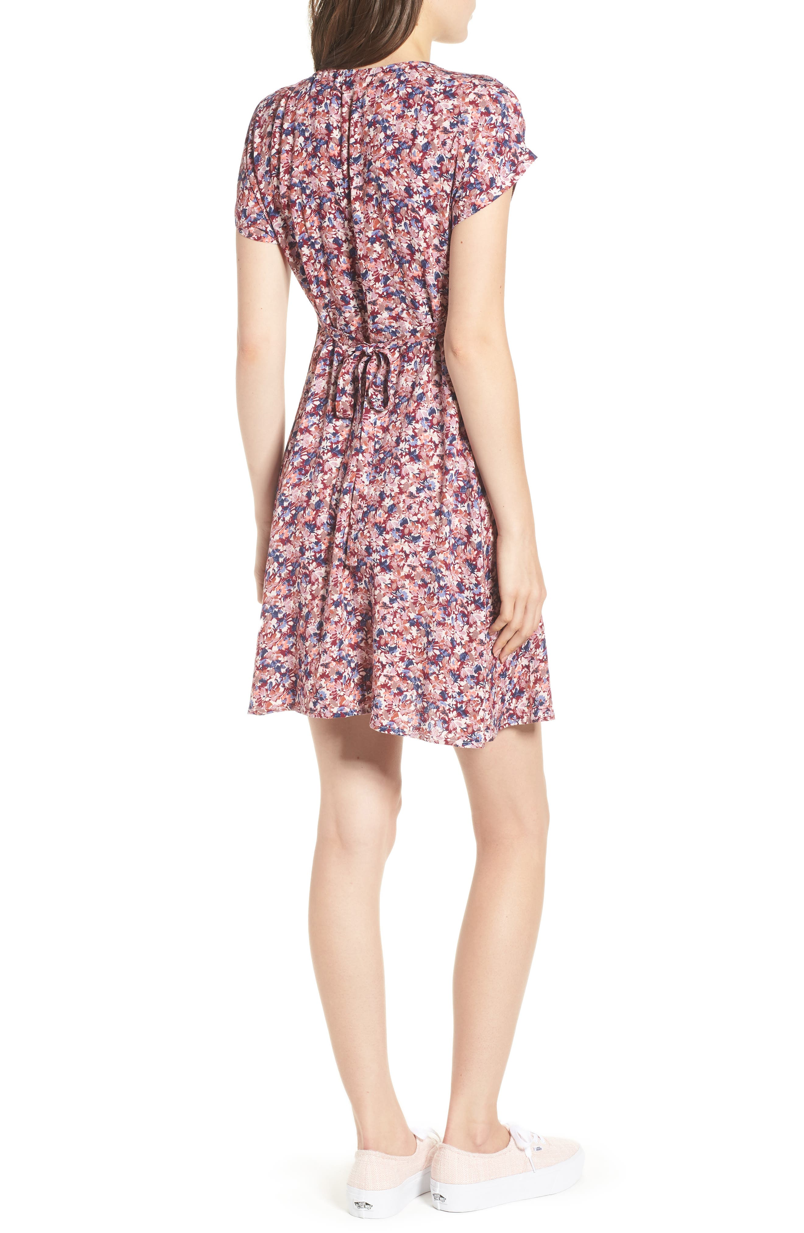 Floral Print Button Front Dress,                             Alternate thumbnail 2, color,                             Pink Floral