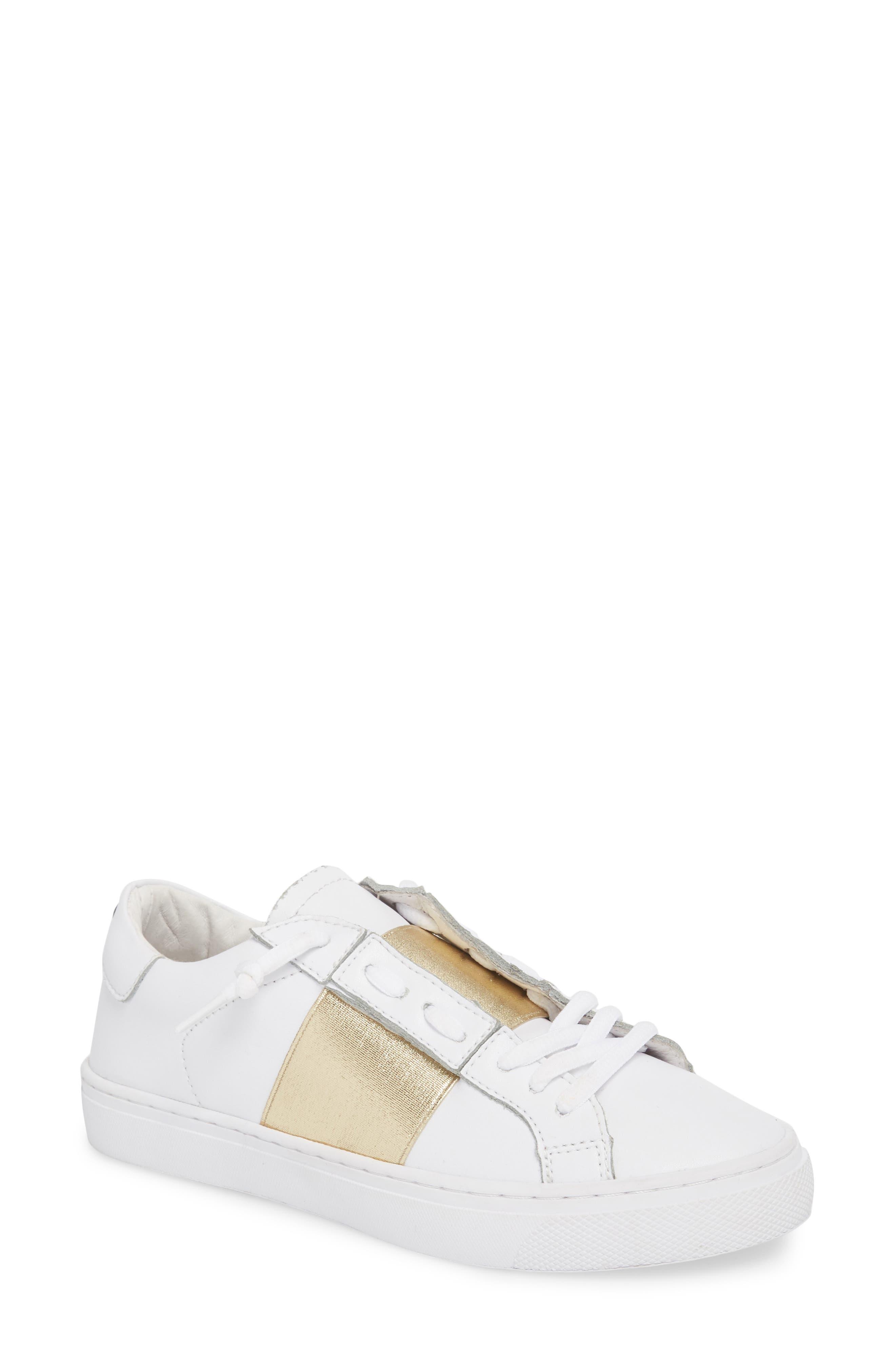 Slip-On Sneaker,                             Main thumbnail 1, color,                             Gold Elastic Leather