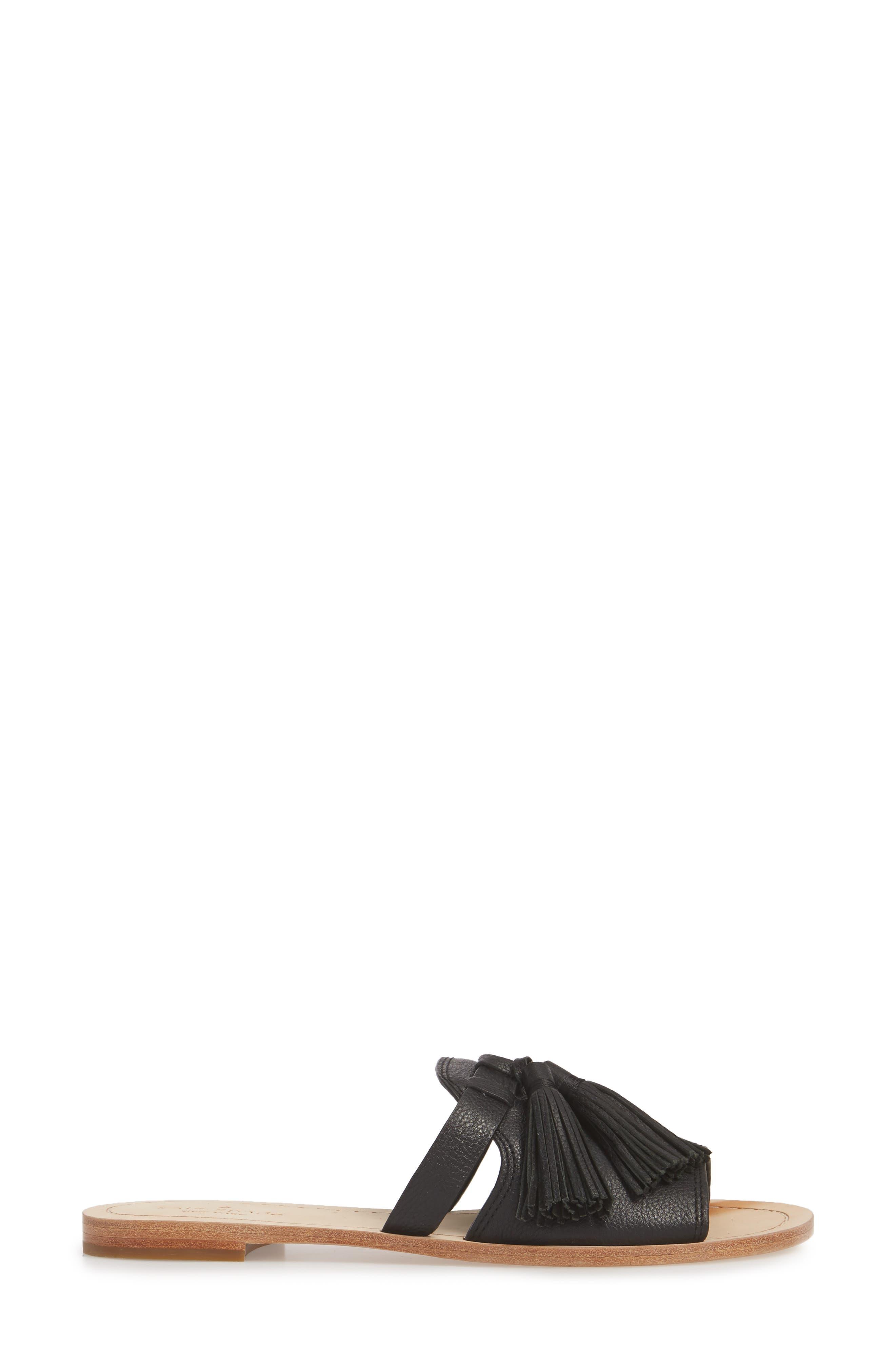coby tassel slide sandal,                             Alternate thumbnail 3, color,                             Black