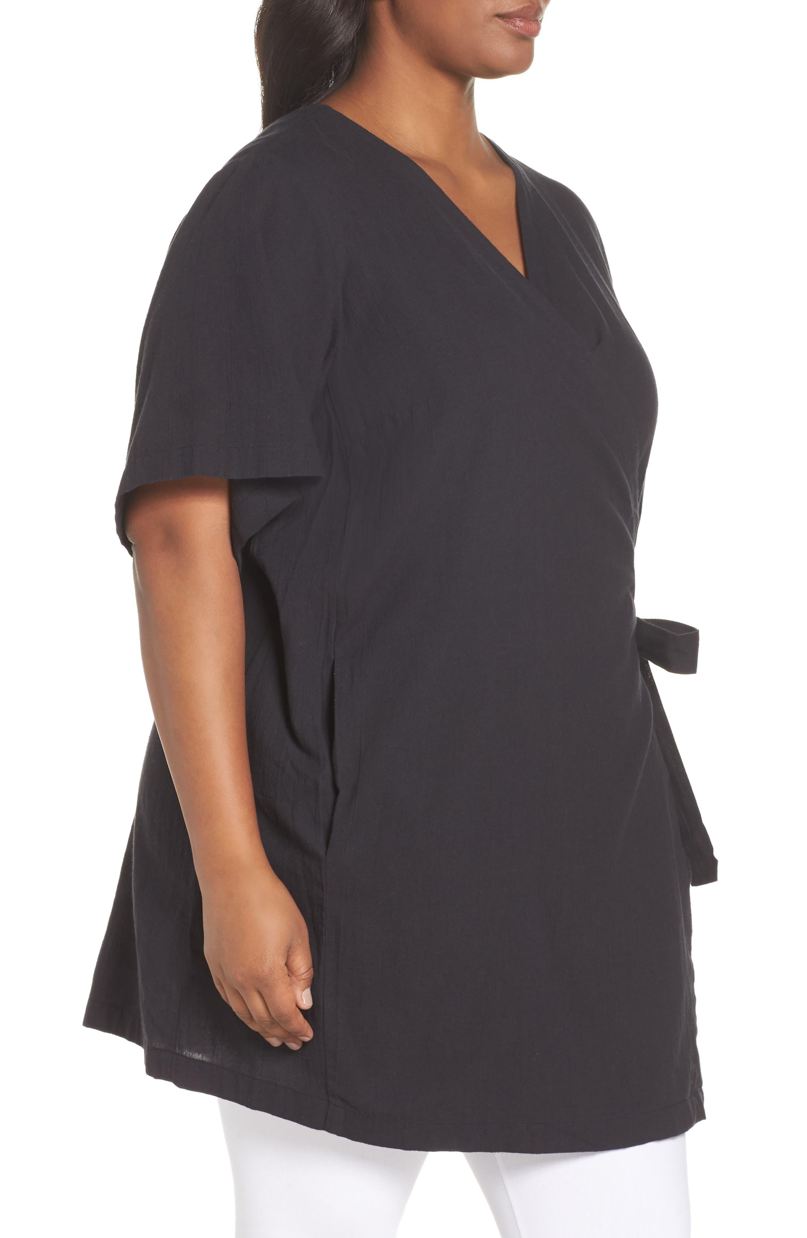 Organic Cotton Blend Kimono Jacket,                             Alternate thumbnail 3, color,                             Black