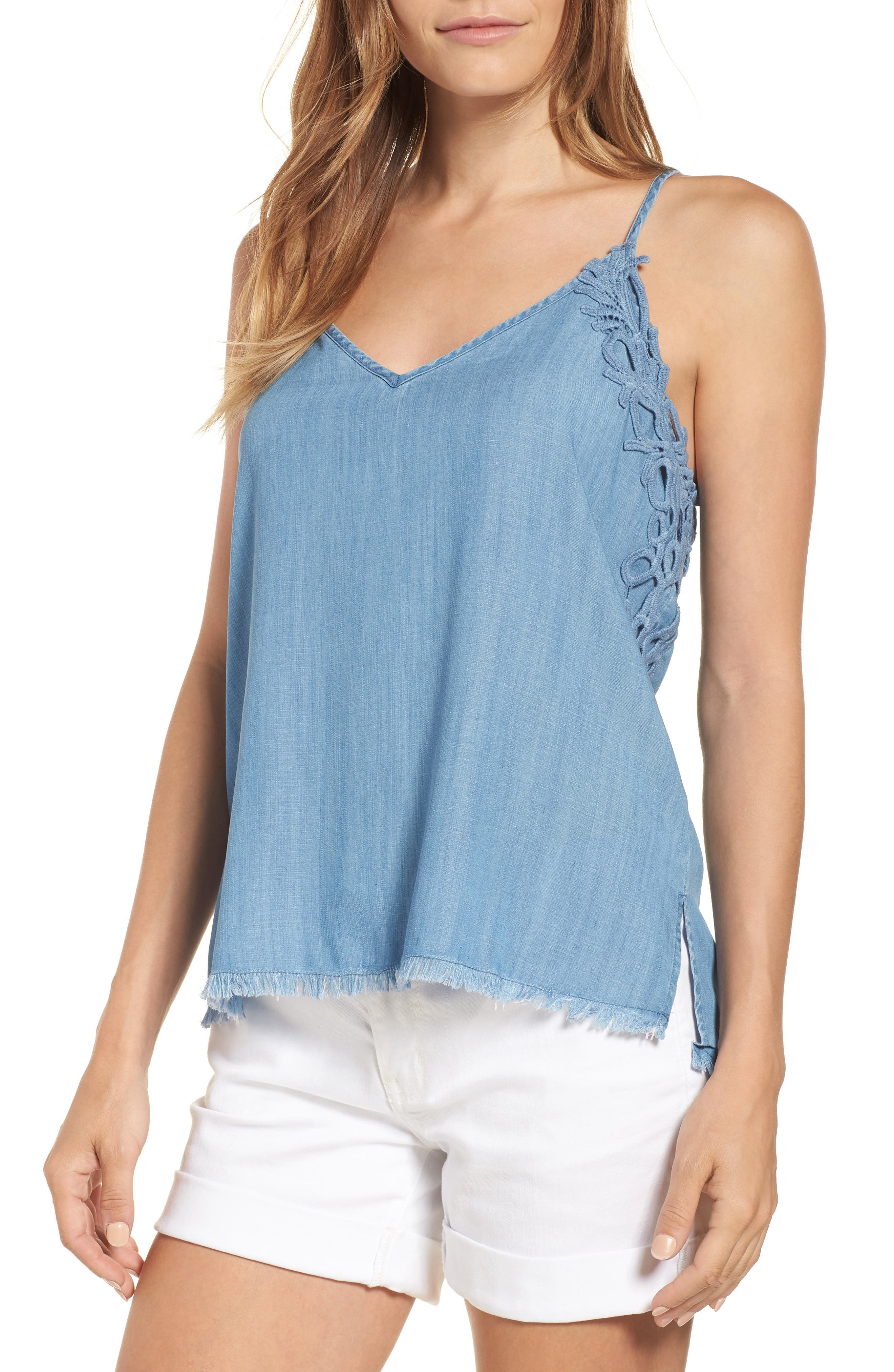 Chambray Camisole Top,                             Main thumbnail 1, color,                             Blue