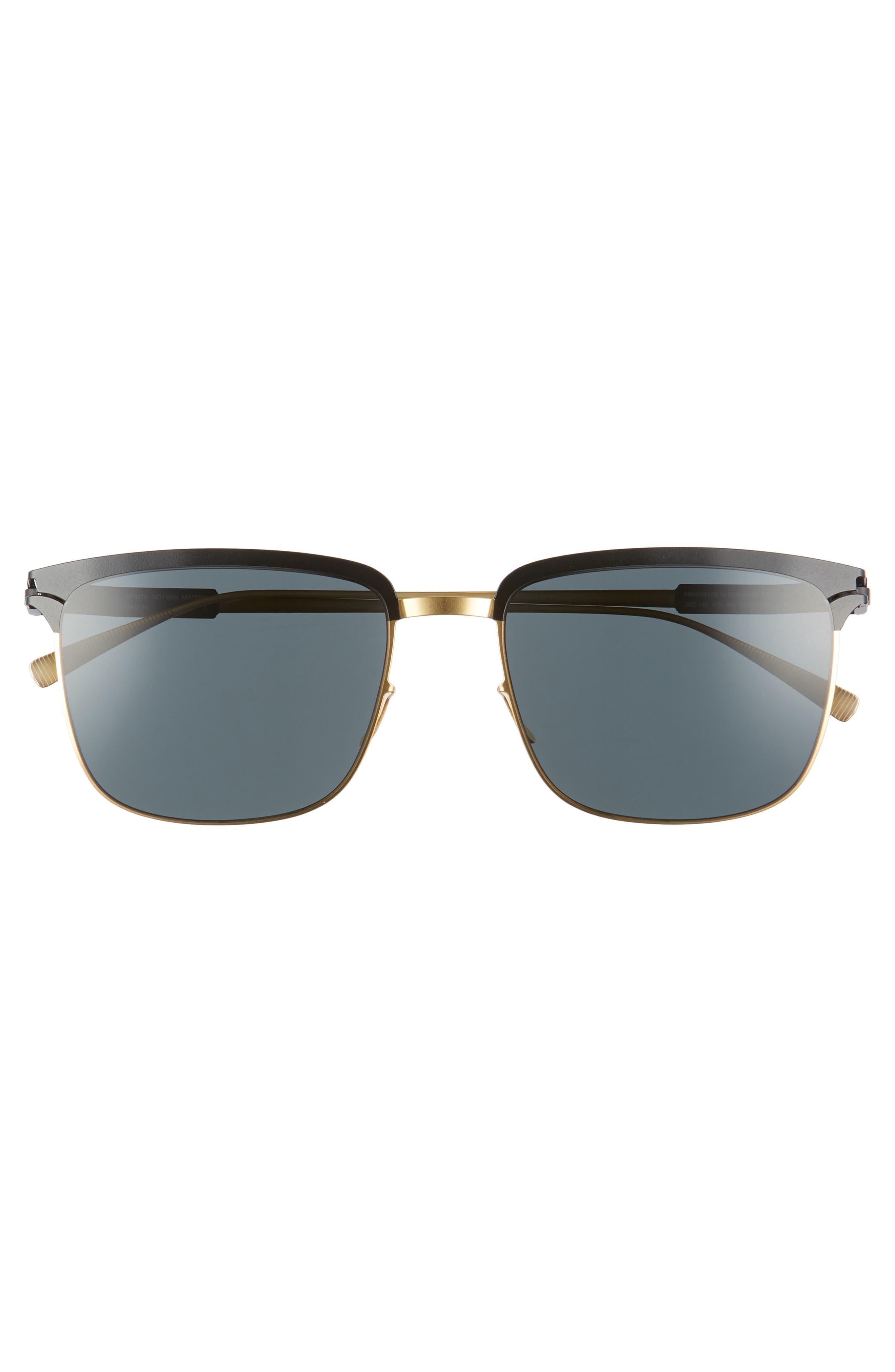 Matteo 54mm Polarized Sunglasses,                             Alternate thumbnail 2, color,                             Gold/ Black