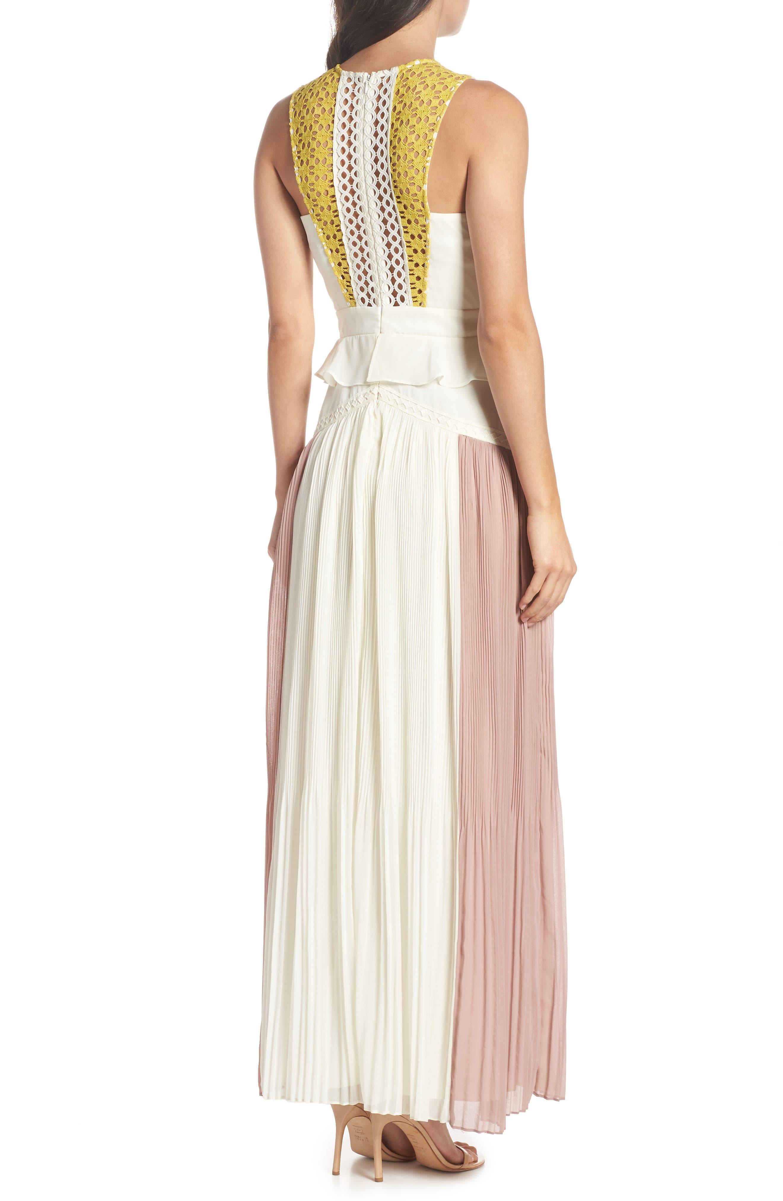 Colorblock Pleated Gown,                             Alternate thumbnail 2, color,                             Off White/ Pink