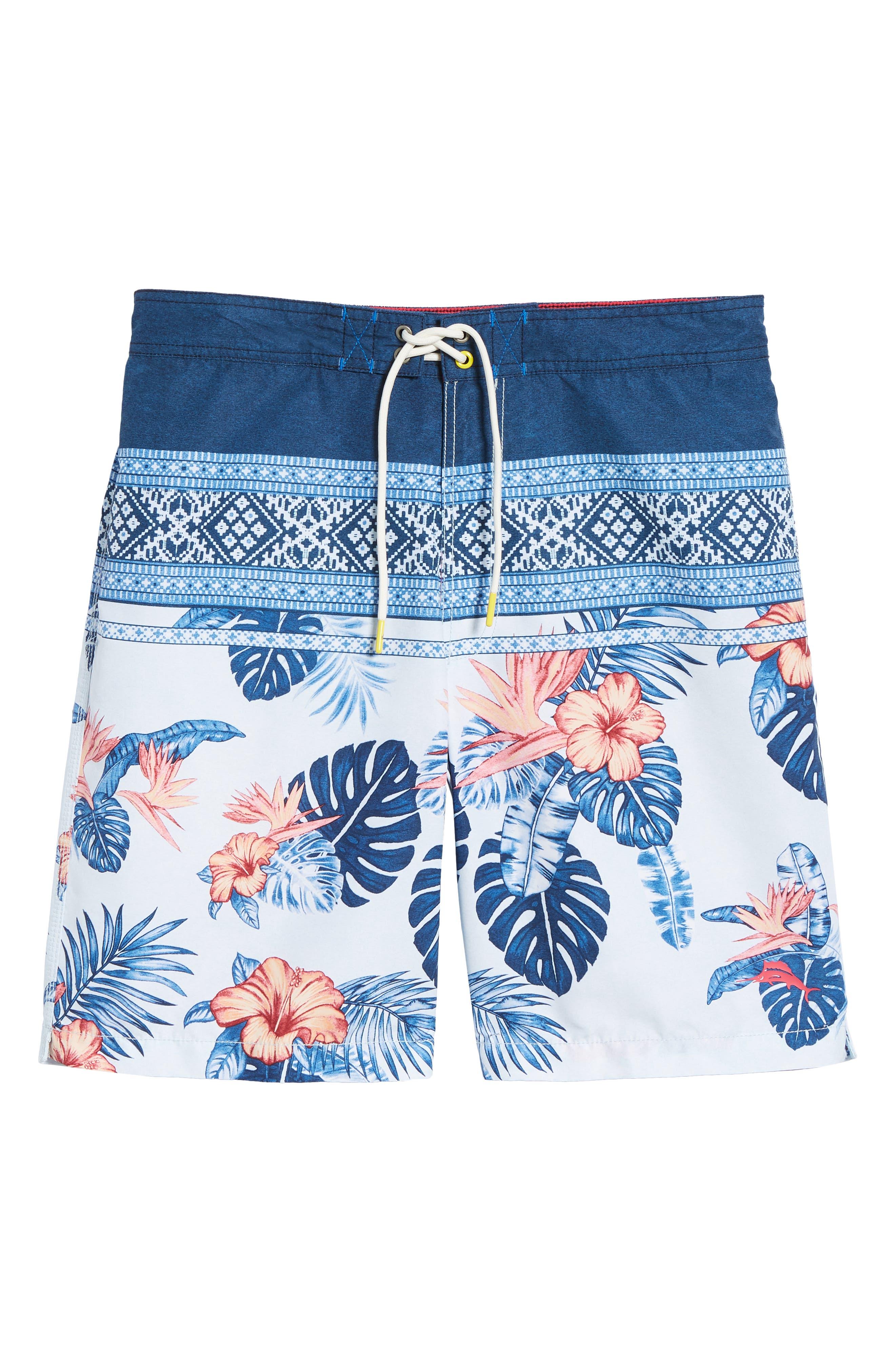 Baja Casa Rosa Board Shorts,                             Alternate thumbnail 6, color,                             Mountain Bluebell