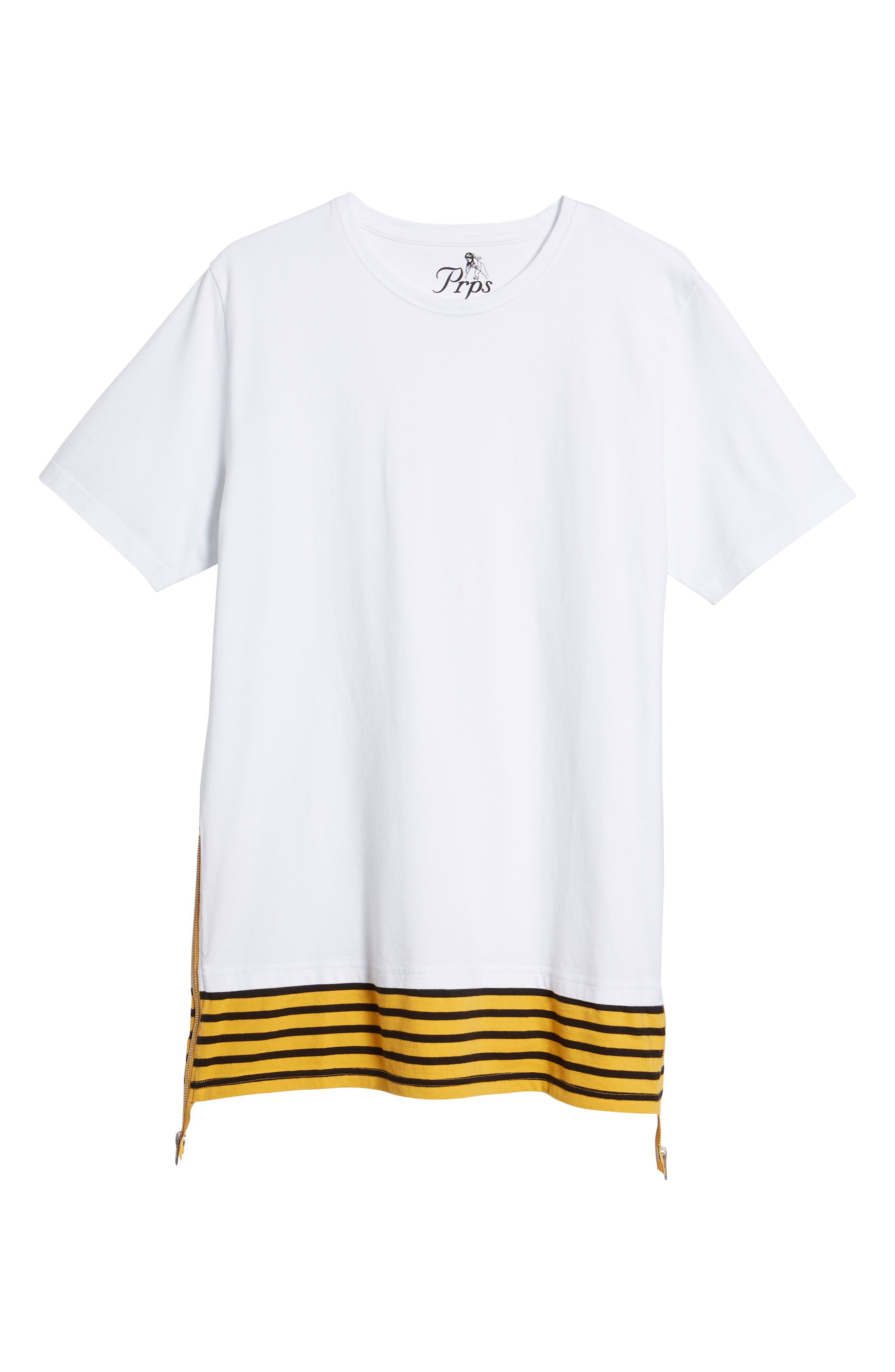 Elongated Stripe Side Zip T-Shirt,                             Alternate thumbnail 6, color,                             White