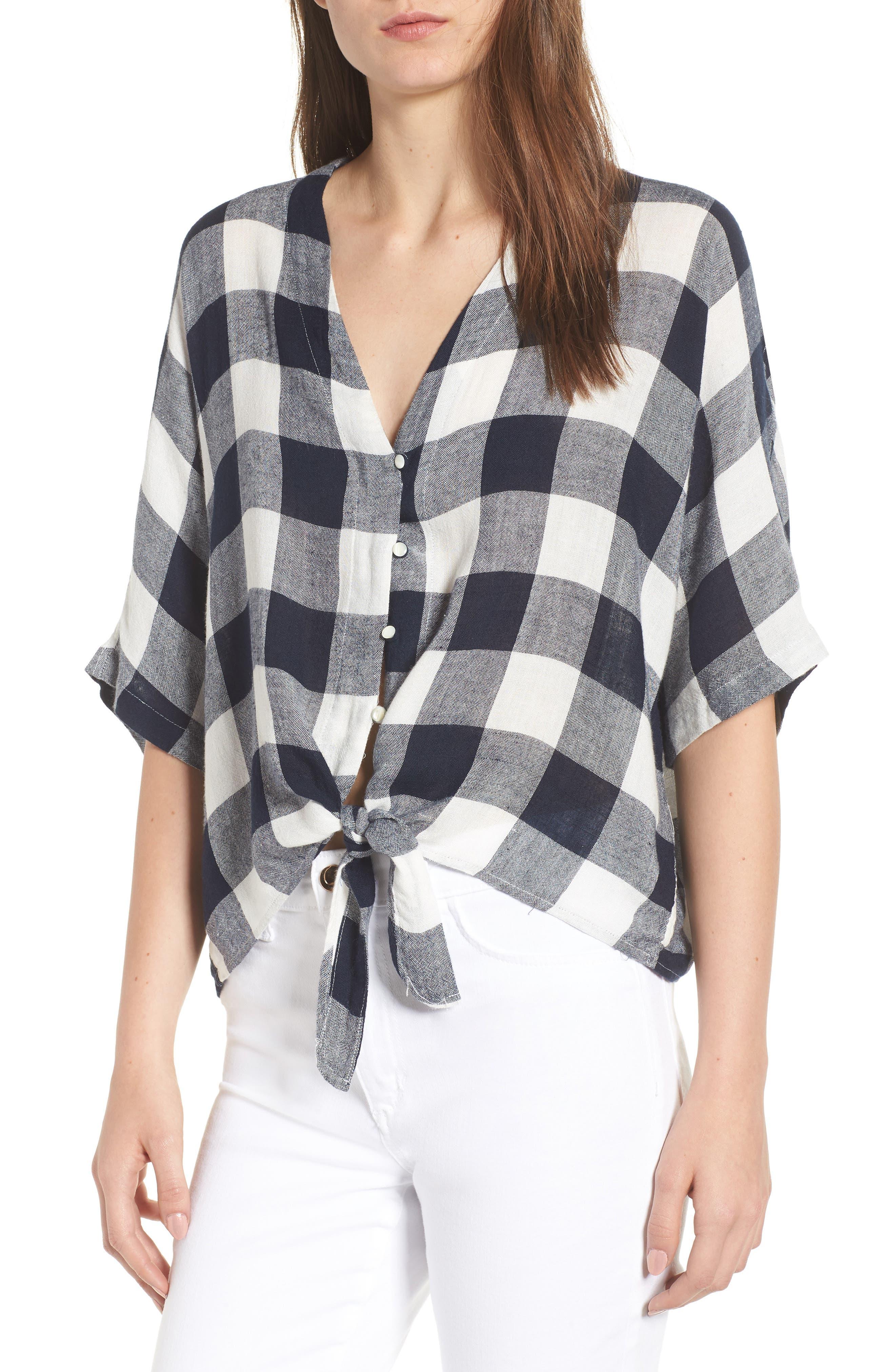 Thea Tie Waist Blouse,                         Main,                         color, Azure Check