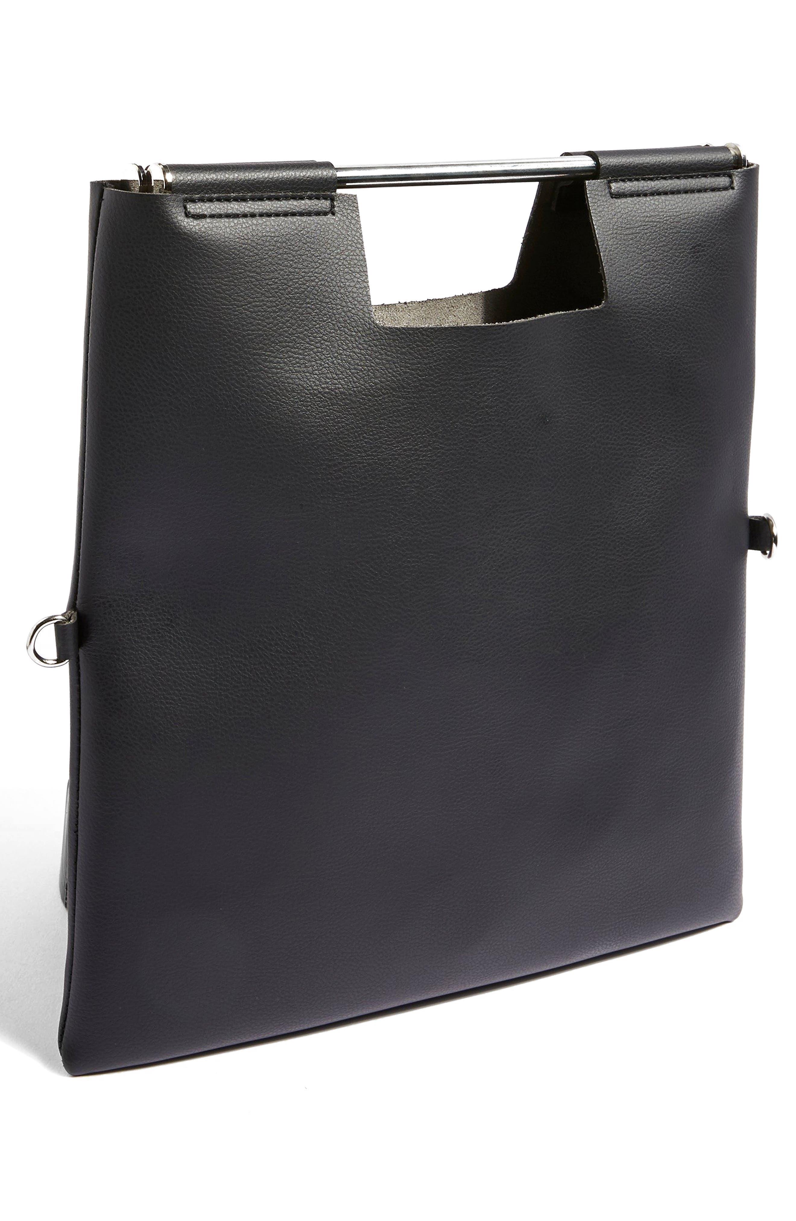 Lotus Metal Handle Clutch Bag,                             Alternate thumbnail 4, color,                             Black