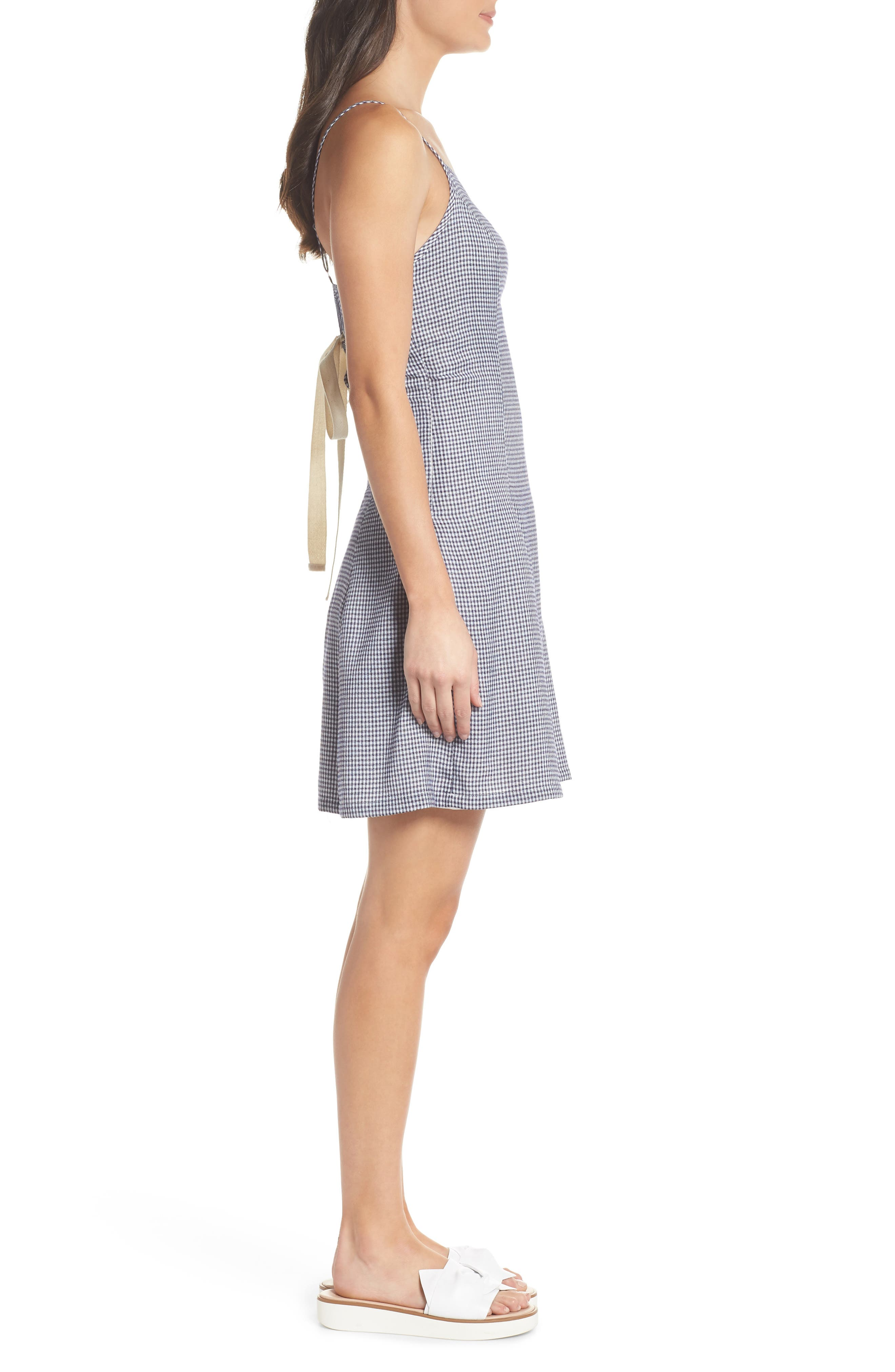 Back Lace-Up Fit & Flare Dress,                             Alternate thumbnail 3, color,                             Navy