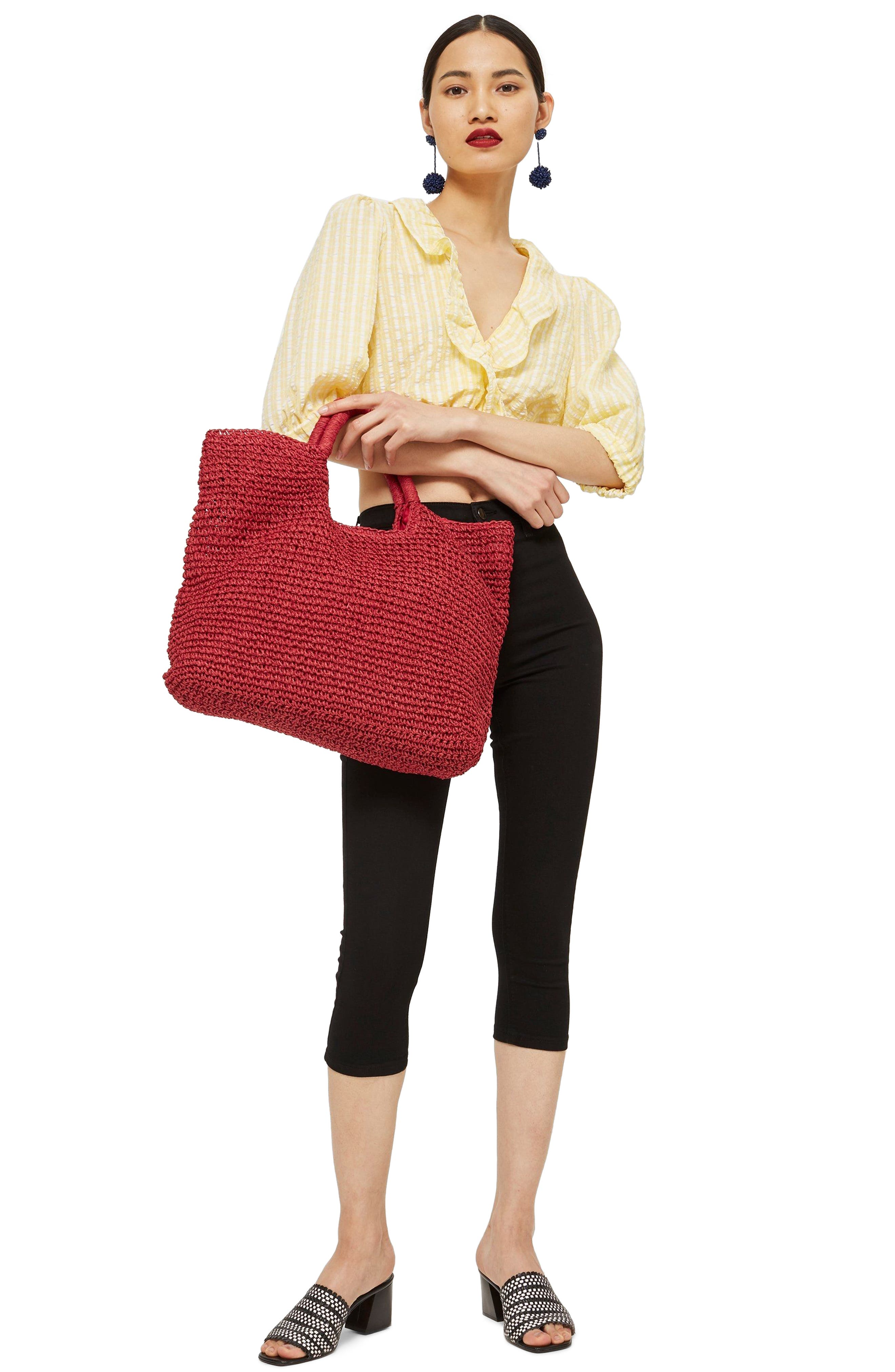 Brighty Straw Tote Bag,                             Alternate thumbnail 2, color,                             Red