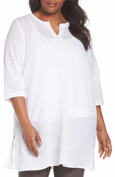 Eileen Fisher Split Neck Textured Tunic (Plus Size)