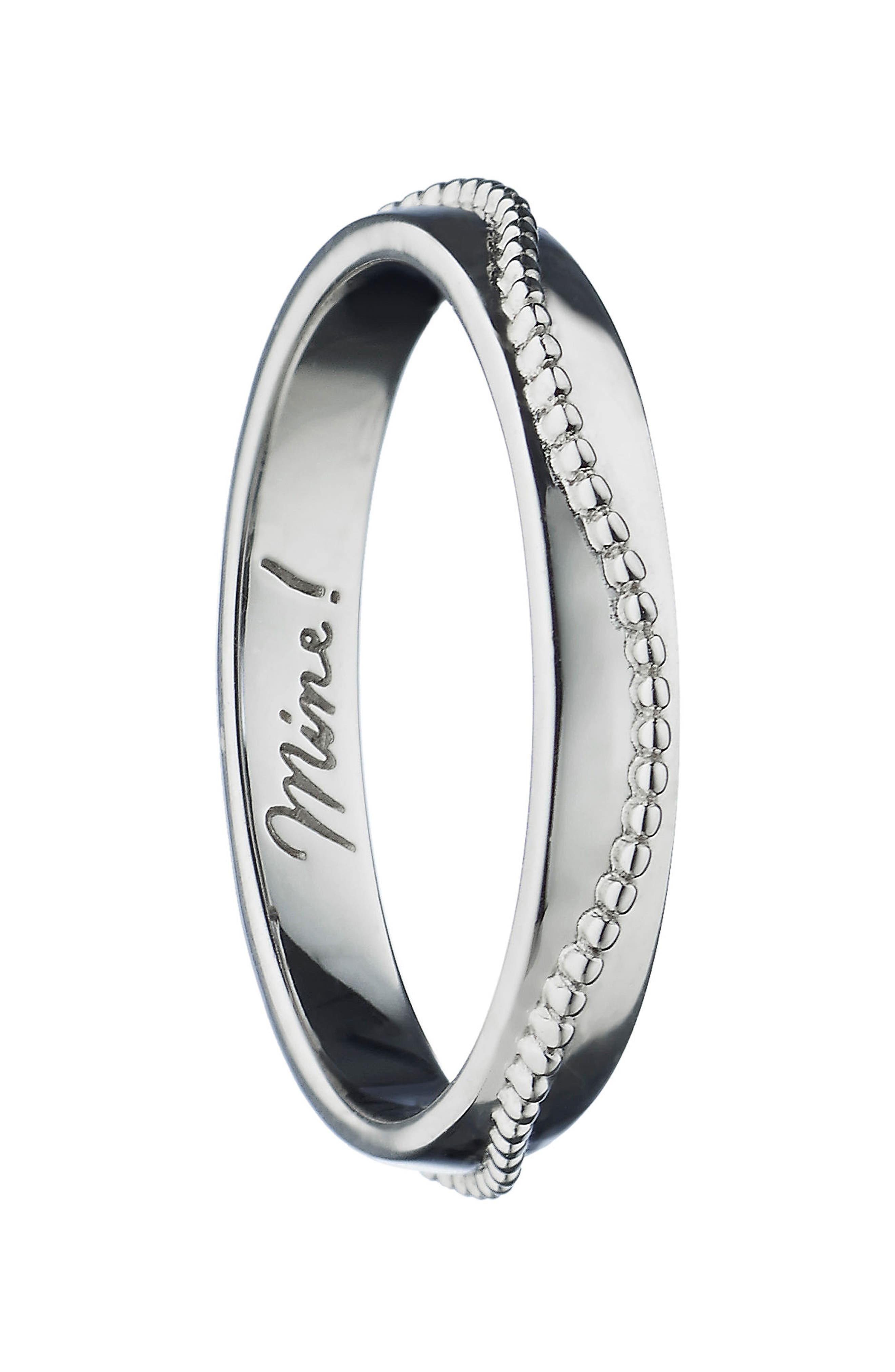Mine! Beaded Poesy Ring Charm, Sterling Silver