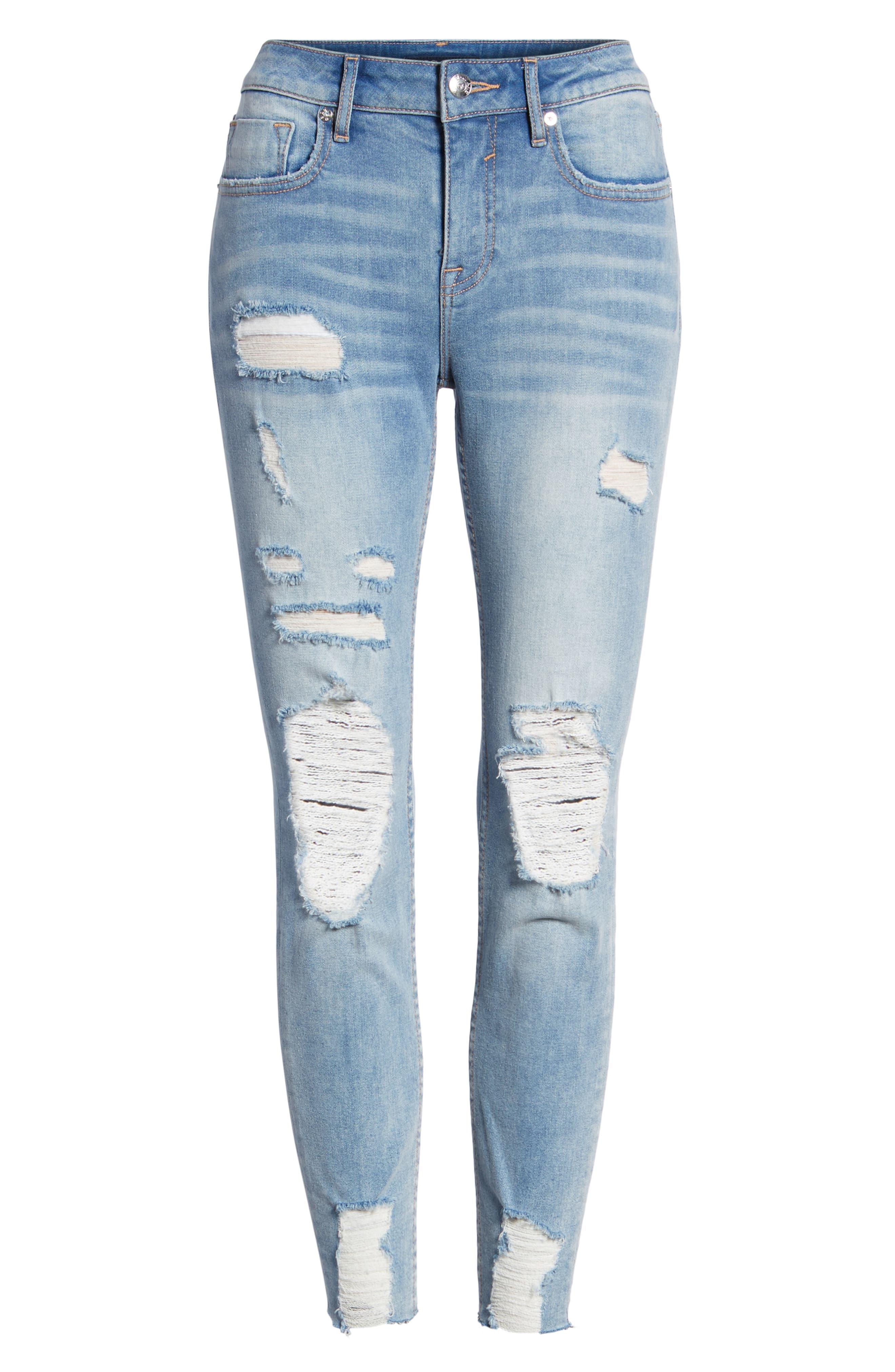 Marley Distressed Crop Skinny Jeans,                             Alternate thumbnail 7, color,                             Light Medium Wash