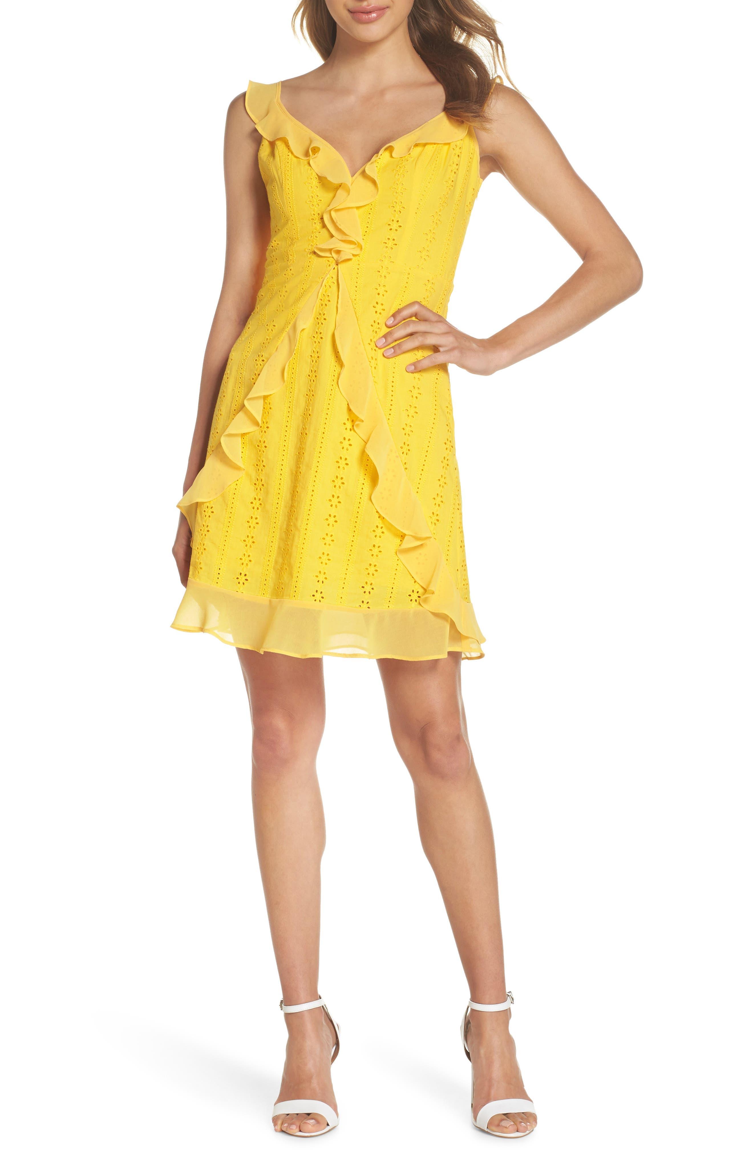 Jessa Ruffle Eyelet Fit & Flare Dress,                             Main thumbnail 1, color,                             Lemonade