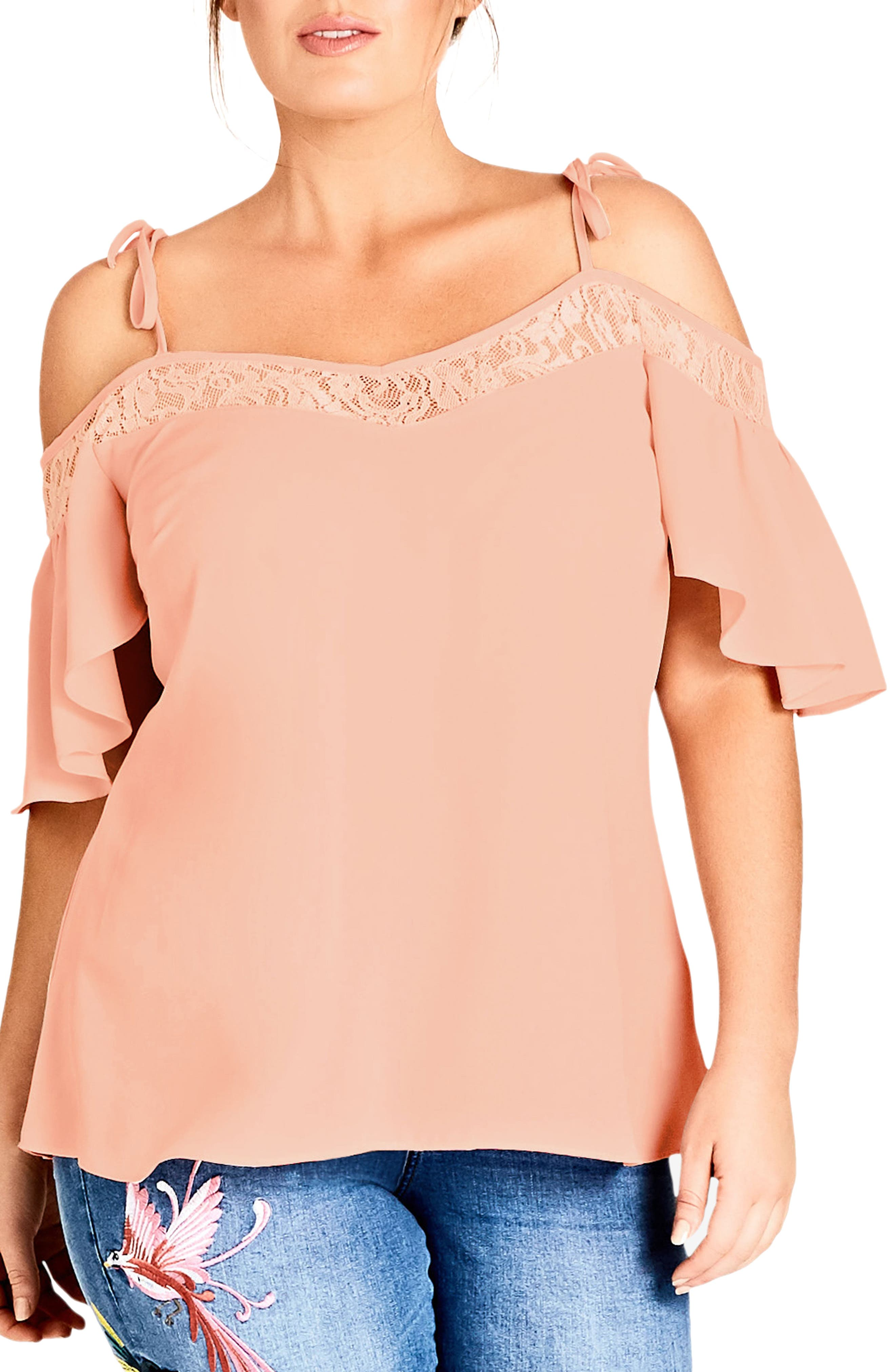 Lace Trim Off-Shoulder Top,                             Main thumbnail 1, color,                             Mango