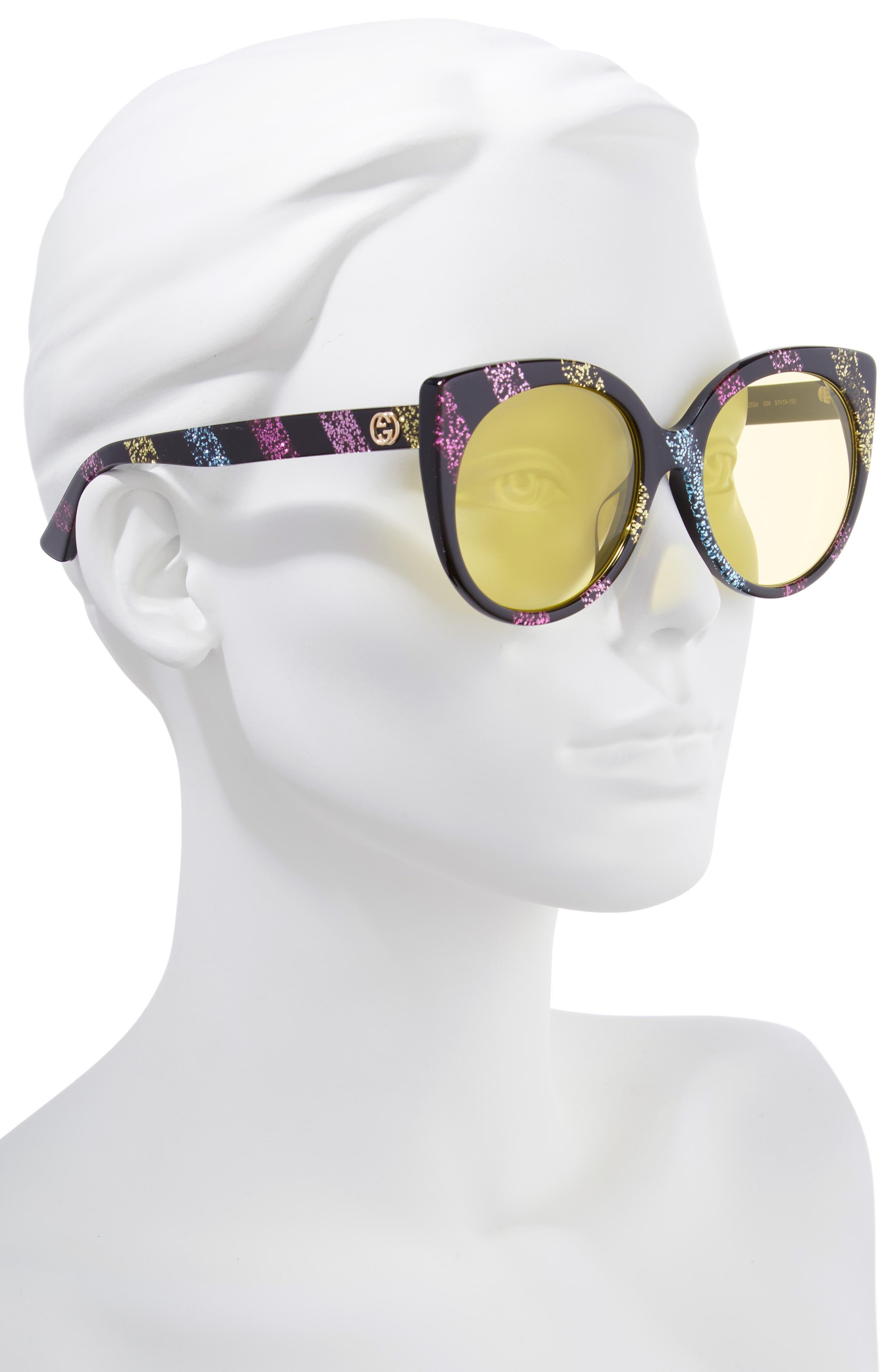 57mm Cat Eye Sunglasses,                             Alternate thumbnail 2, color,                             Pink/ Multicolor
