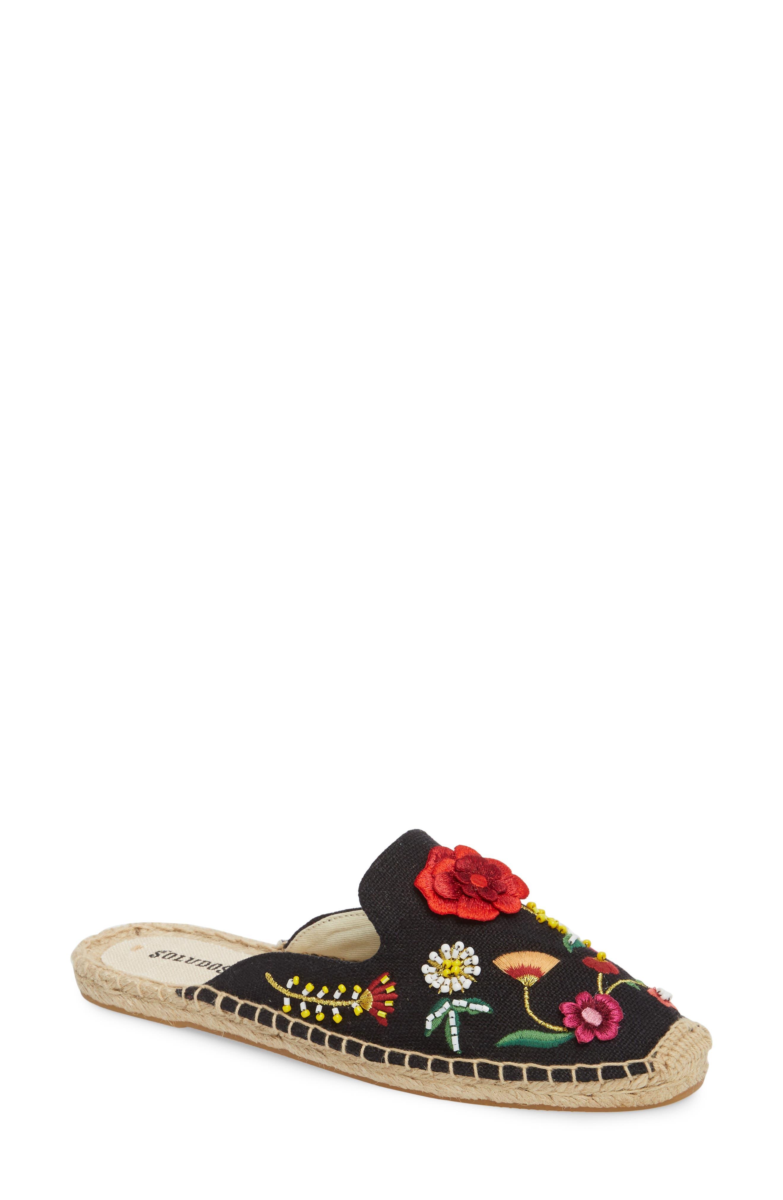 Embellished Floral Mule,                         Main,                         color, Black