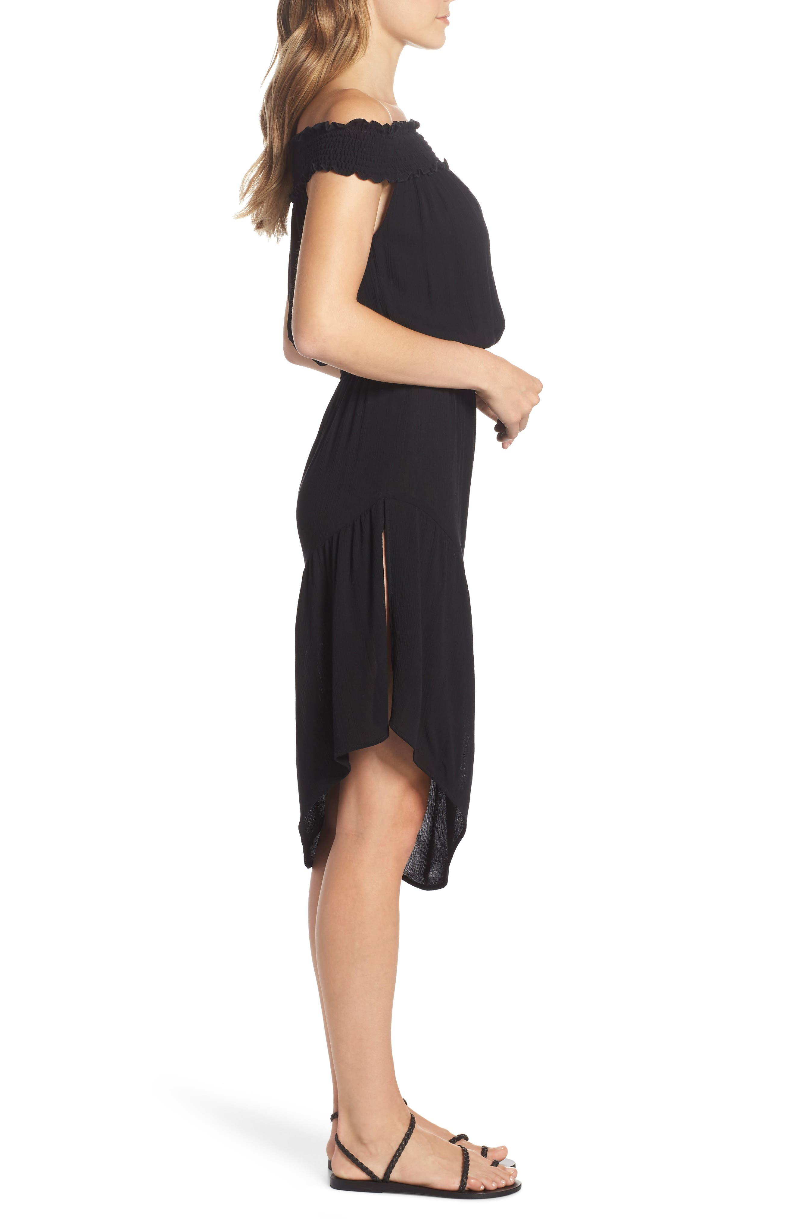Summer Breeze Off the Shoulder Cover-Up Dress,                             Alternate thumbnail 3, color,                             Black