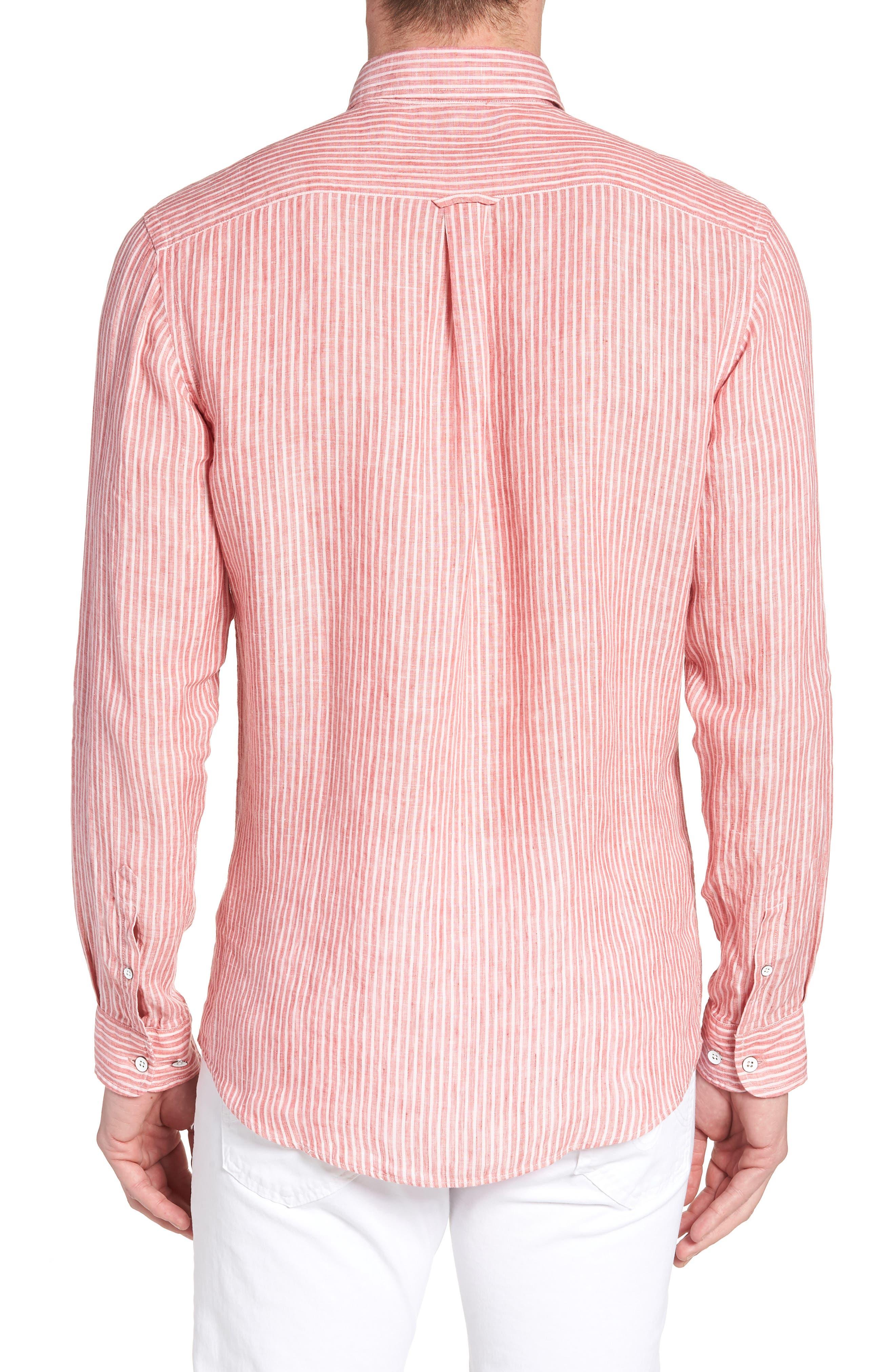 Warwick Junction Stripe Linen Sport Shirt,                             Alternate thumbnail 3, color,                             Coral