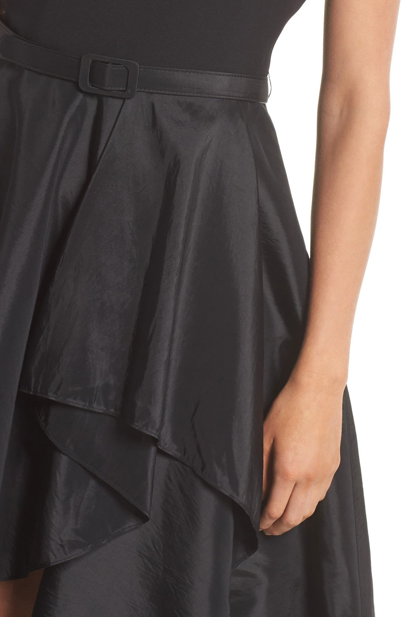 Asymmetrical Tea Length Dress,                             Alternate thumbnail 4, color,                             Black