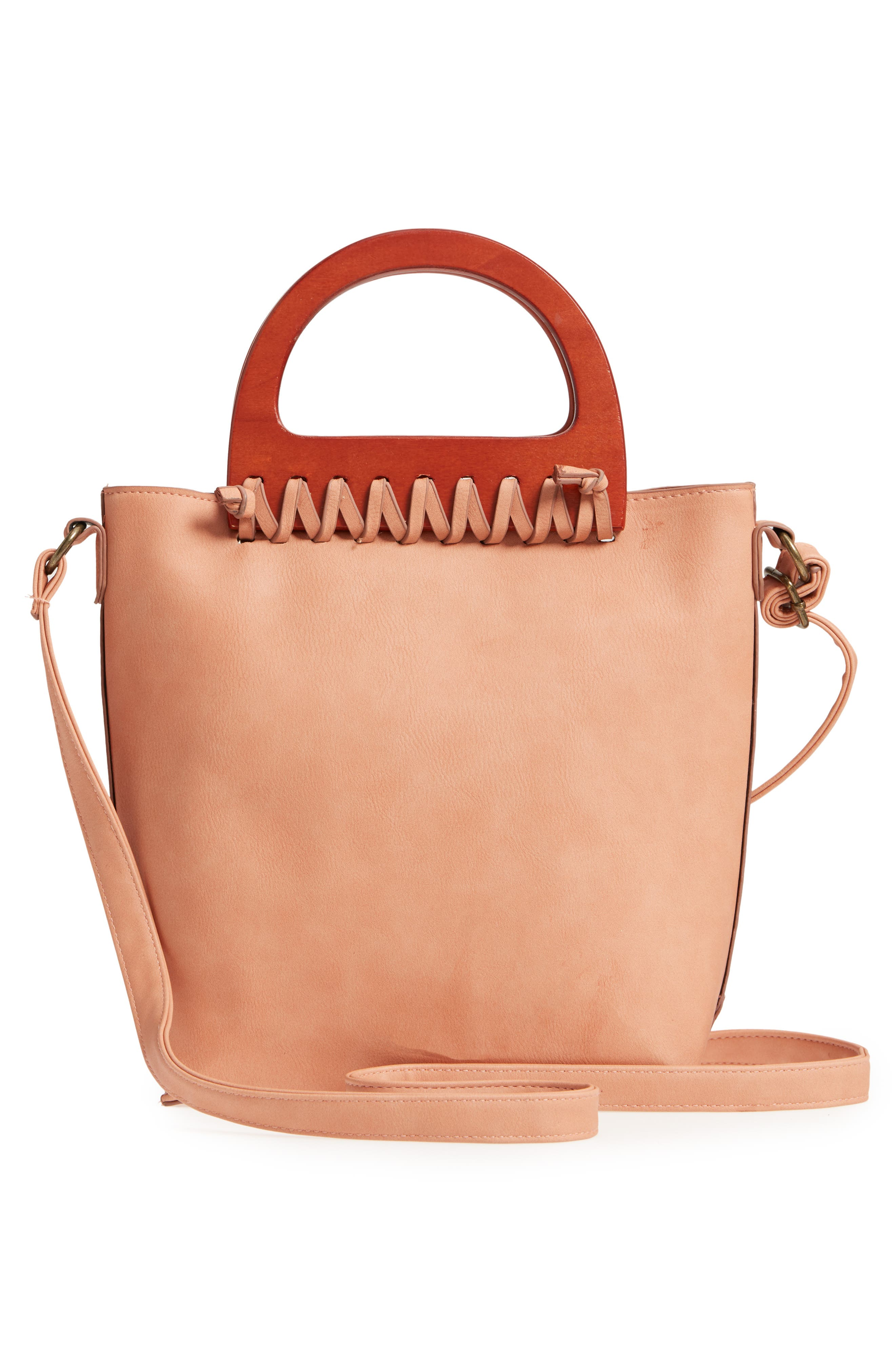 Wood Handle Stitched Tote,                             Alternate thumbnail 3, color,                             Clay